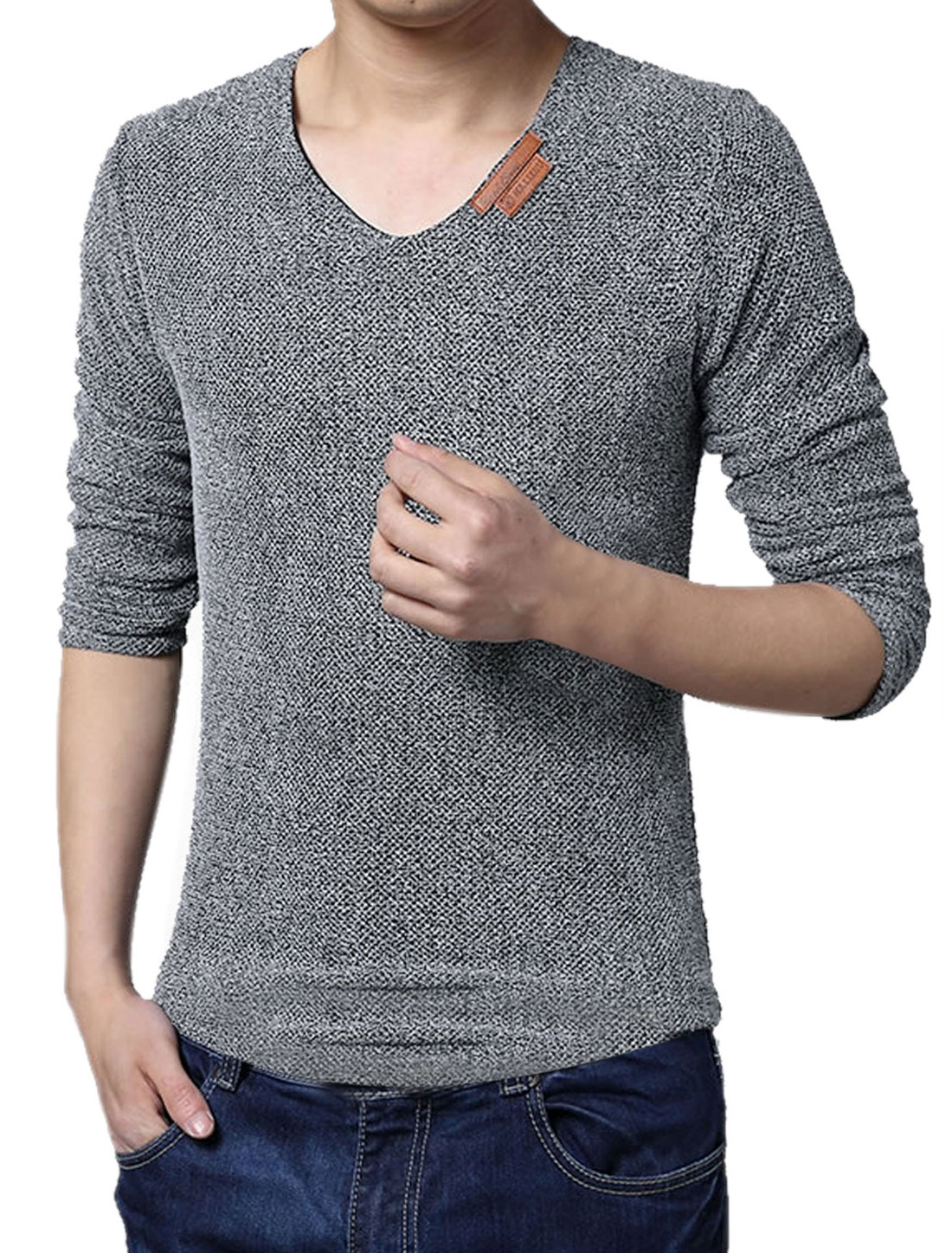 Men V Neck Long Sleeves Netted Mesh Tee Shirt Gray M