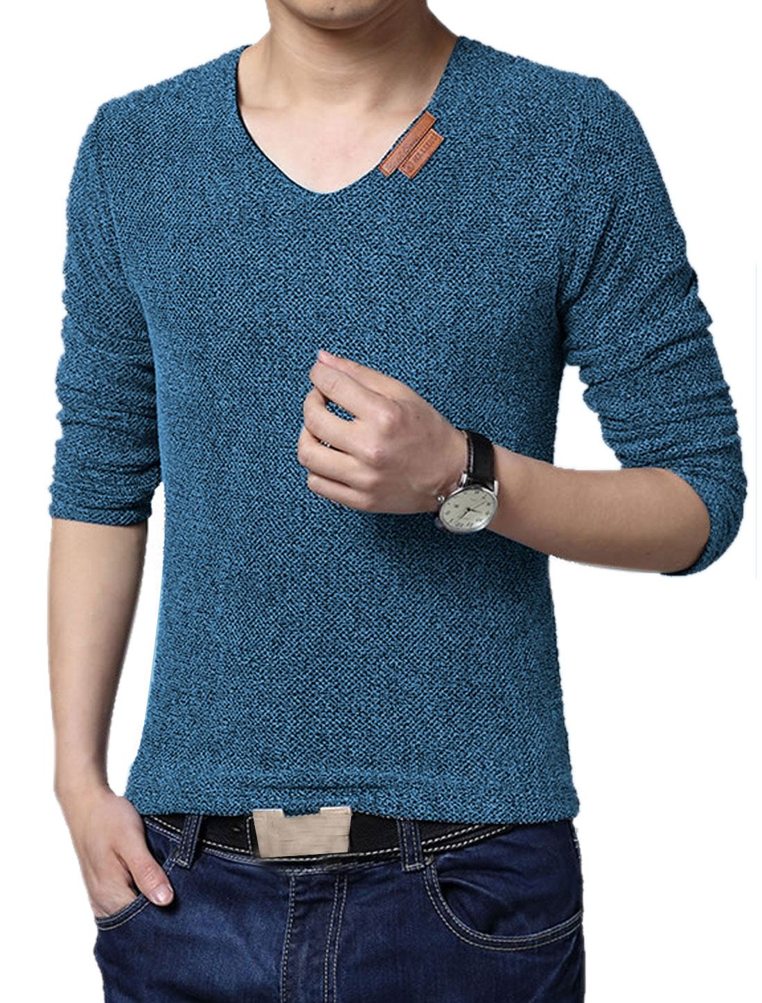 Men V Neck Long Sleeves Netted Mesh Tee Shirt Blue M