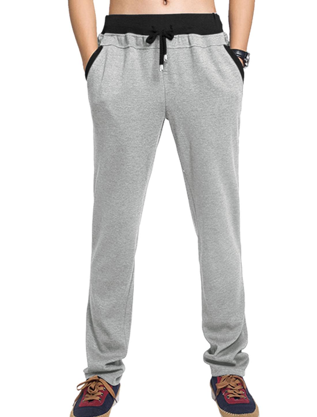 Men Slant Front Pockets Ribbed Waist Casual Pants Light Gray W32