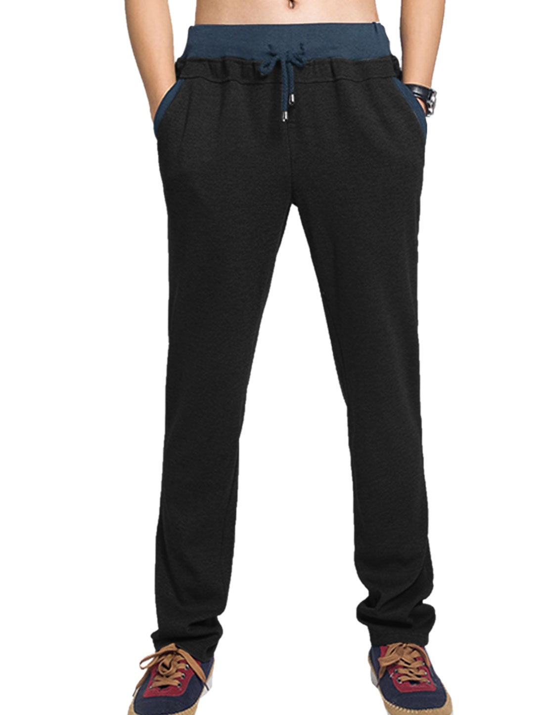 Men Drawcord Waist Slant Pockets Casual Trousers Black W34