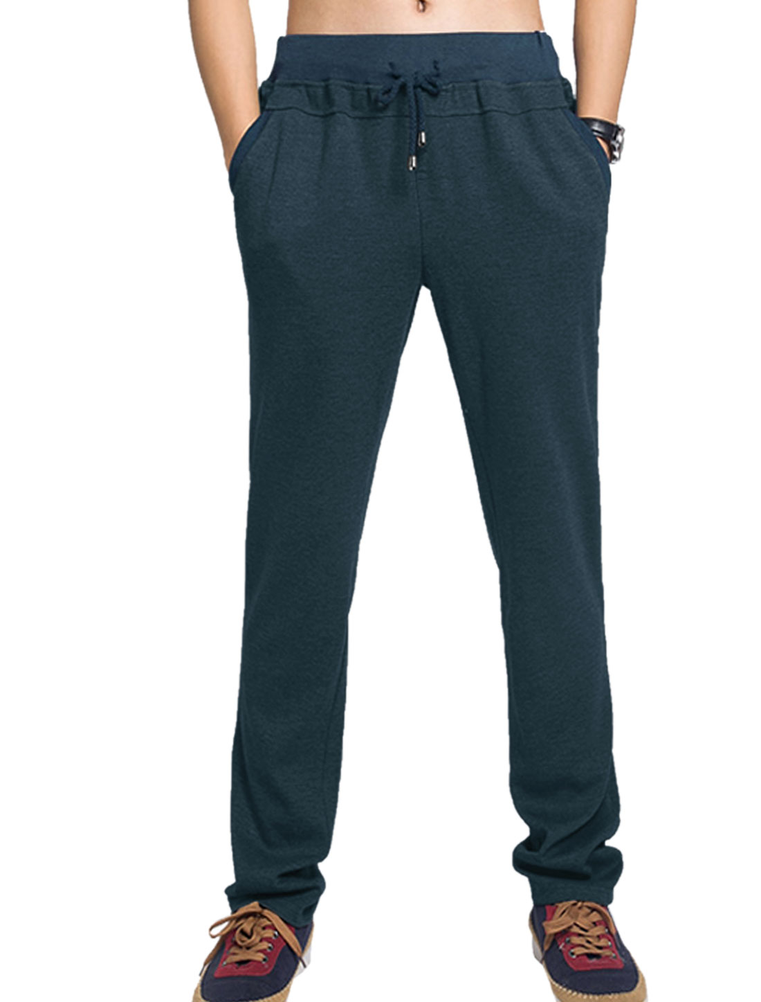 Men Elastic Waist with String Pure Casual Trousers Navy Blue W34