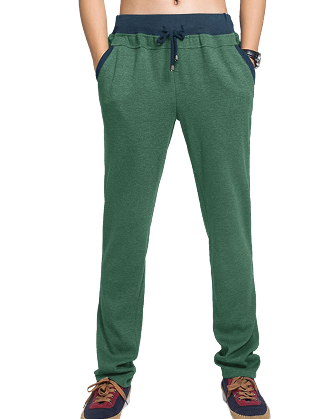 Men Leisure Style Slant Front Pockets Hip Pockets Trousers Green W34