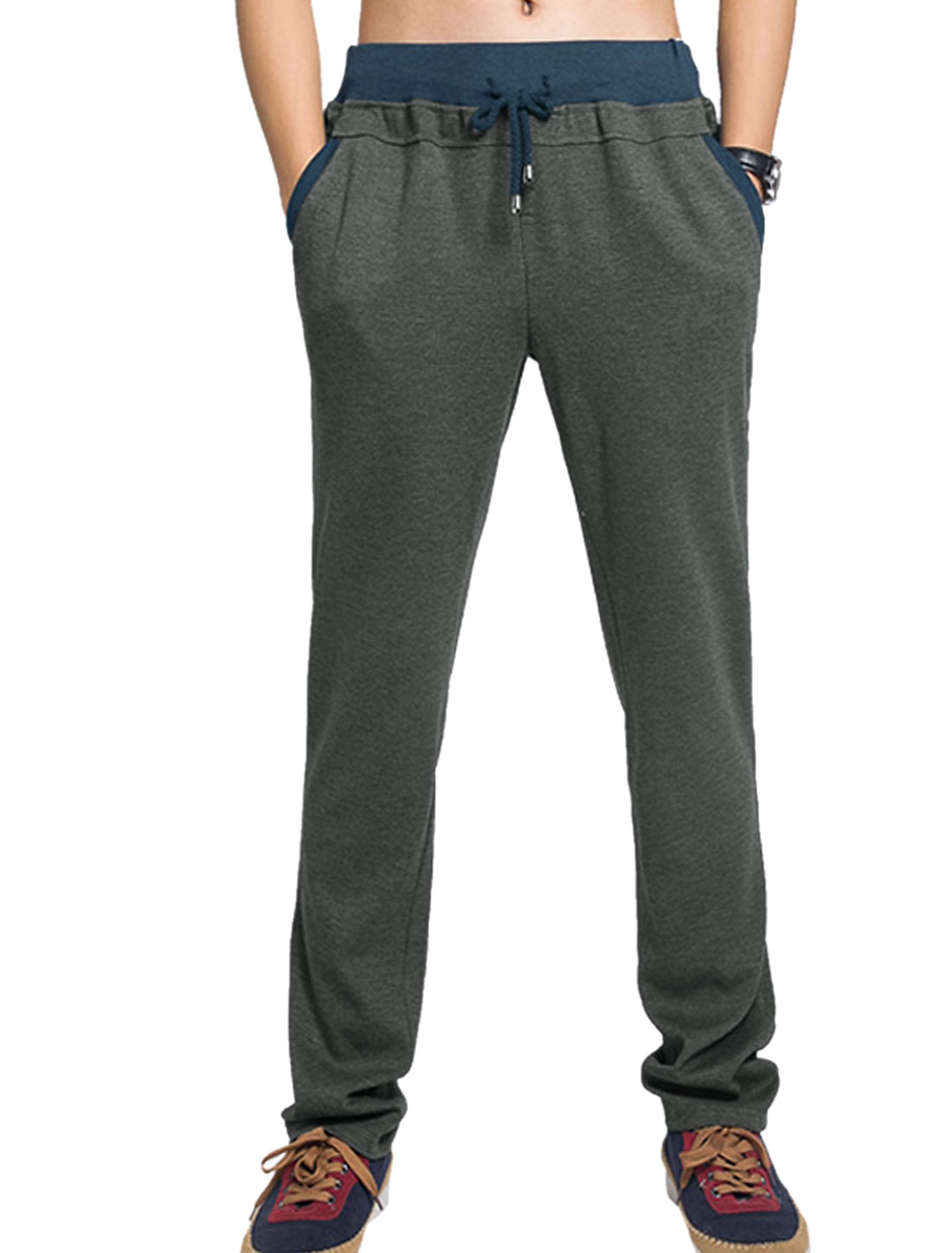 Men Simple Color Slant Pockets Back Pockets Casual Trousers Dark Gray W34