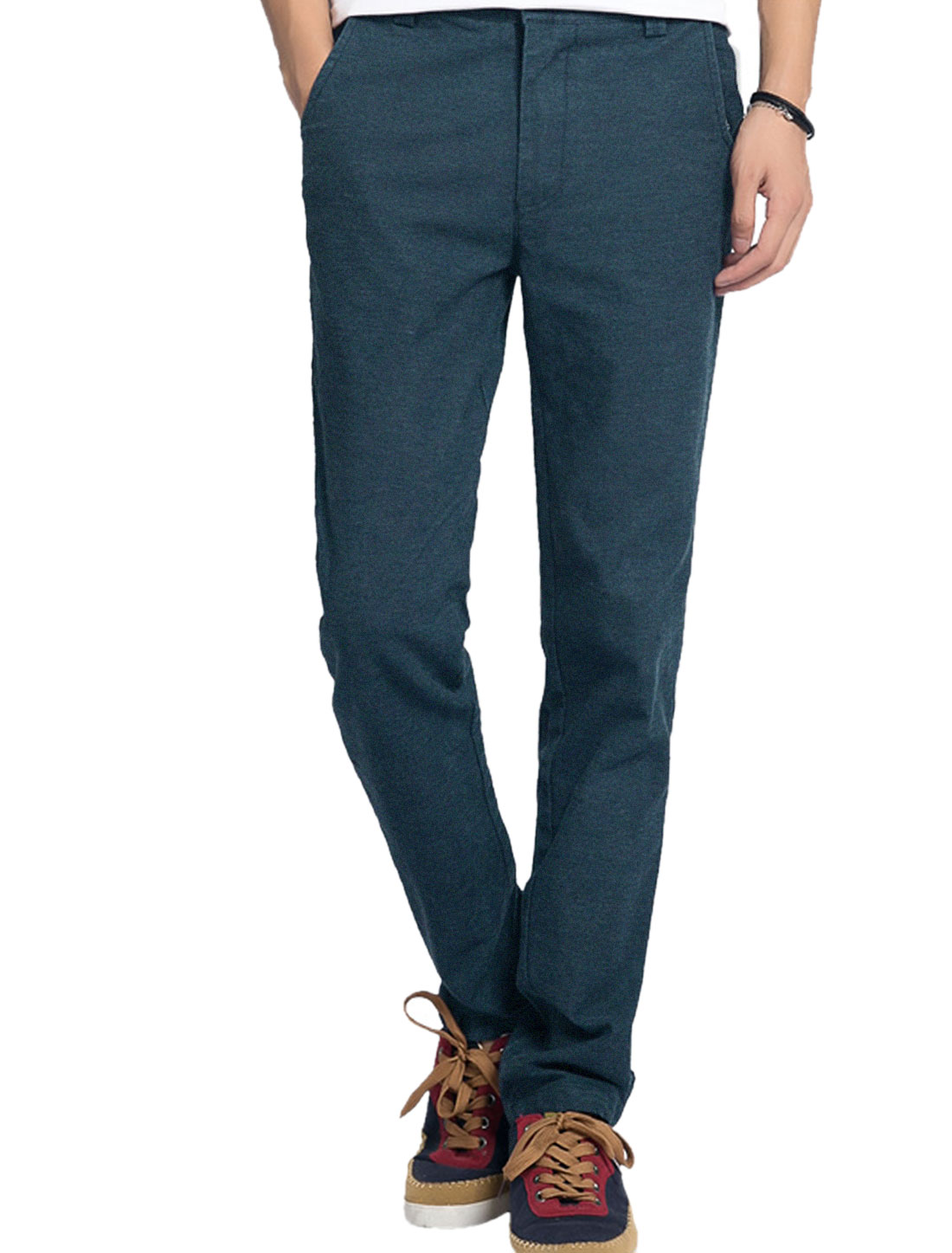 Men Hip Pockets with Button Decor Zip Fly Slim Pants Steel Blue W34