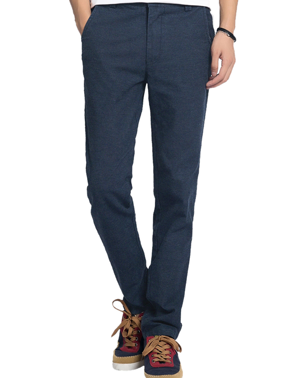 Men Zip Fly Slant Front Pockets Slim Leisure Pants Navy Blue W34