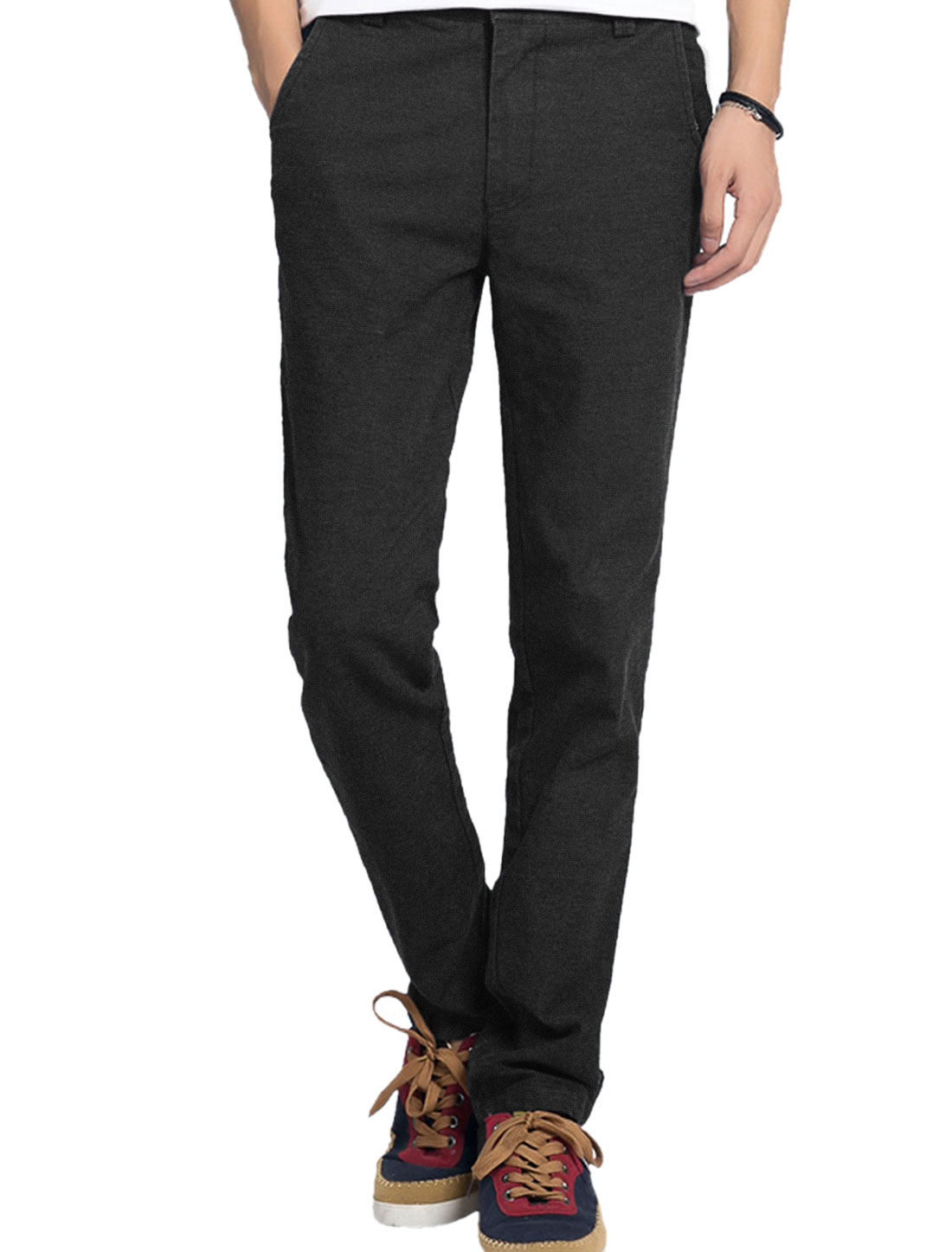Men Buttoned Front Zipper Fly Fitting Casual Trousers Black W38