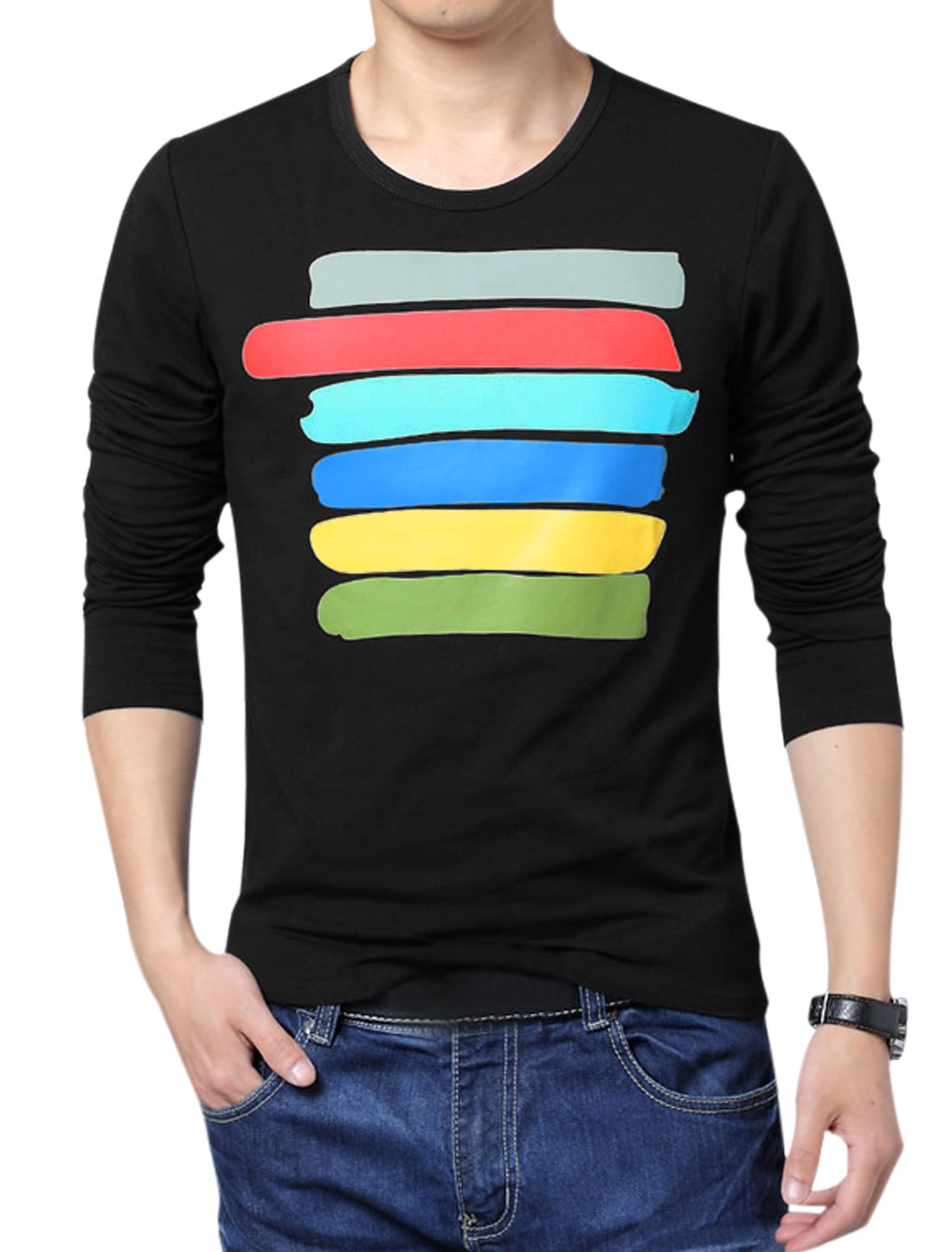 Men Long Sleeve Colorful Stripes Regular Fit Basic T-Shirt Black M