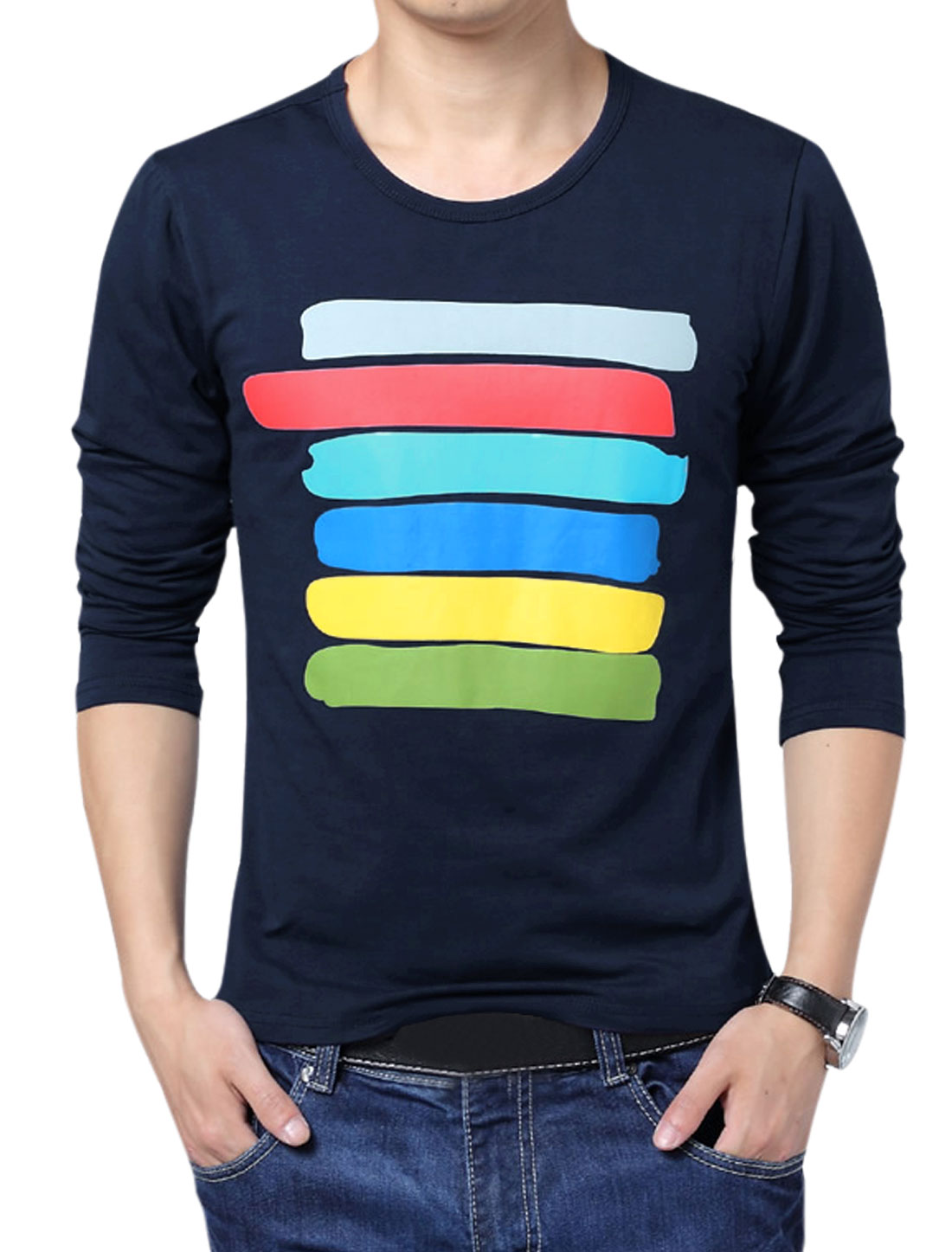 Men Colorful Stripes Long Sleeves T-Shirt Blue M
