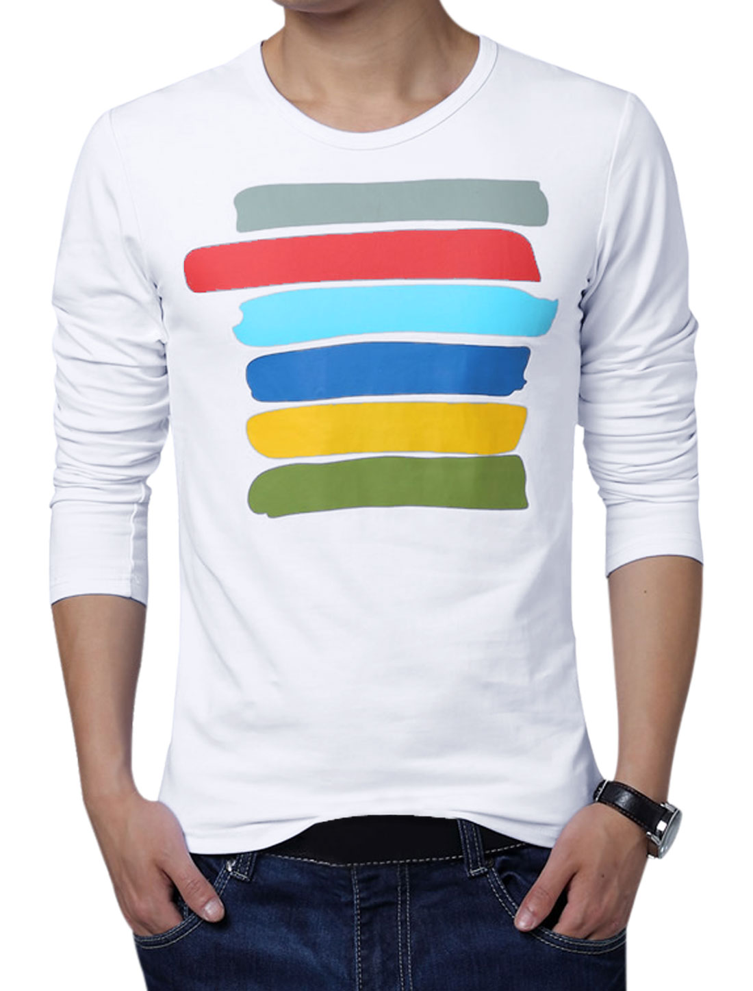 Men Long Sleeve Colorful Stripes Autumn T-Shirt White M