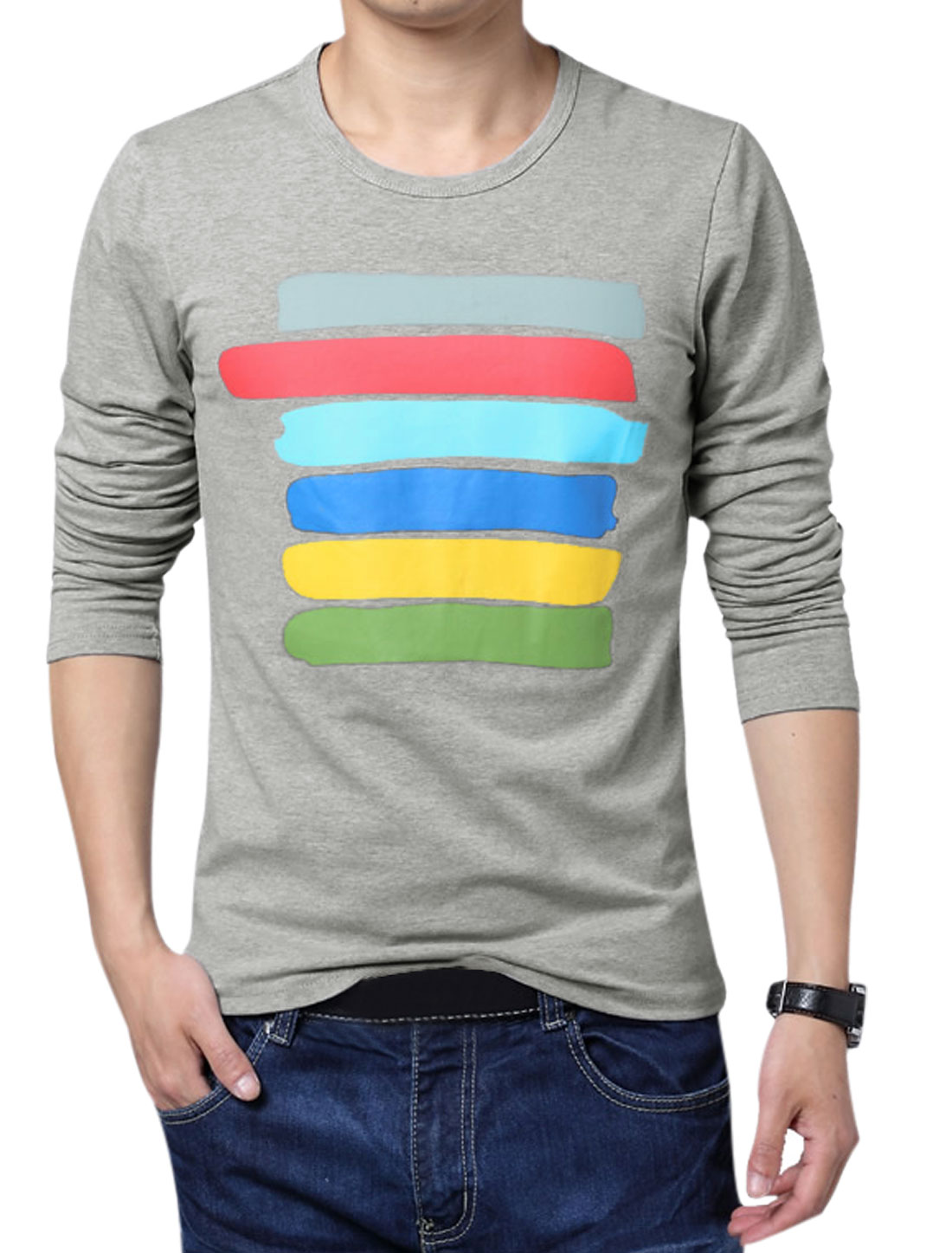 Men Long Sleeve Colorful Stripes Leisure Basic T-Shirt Gray M