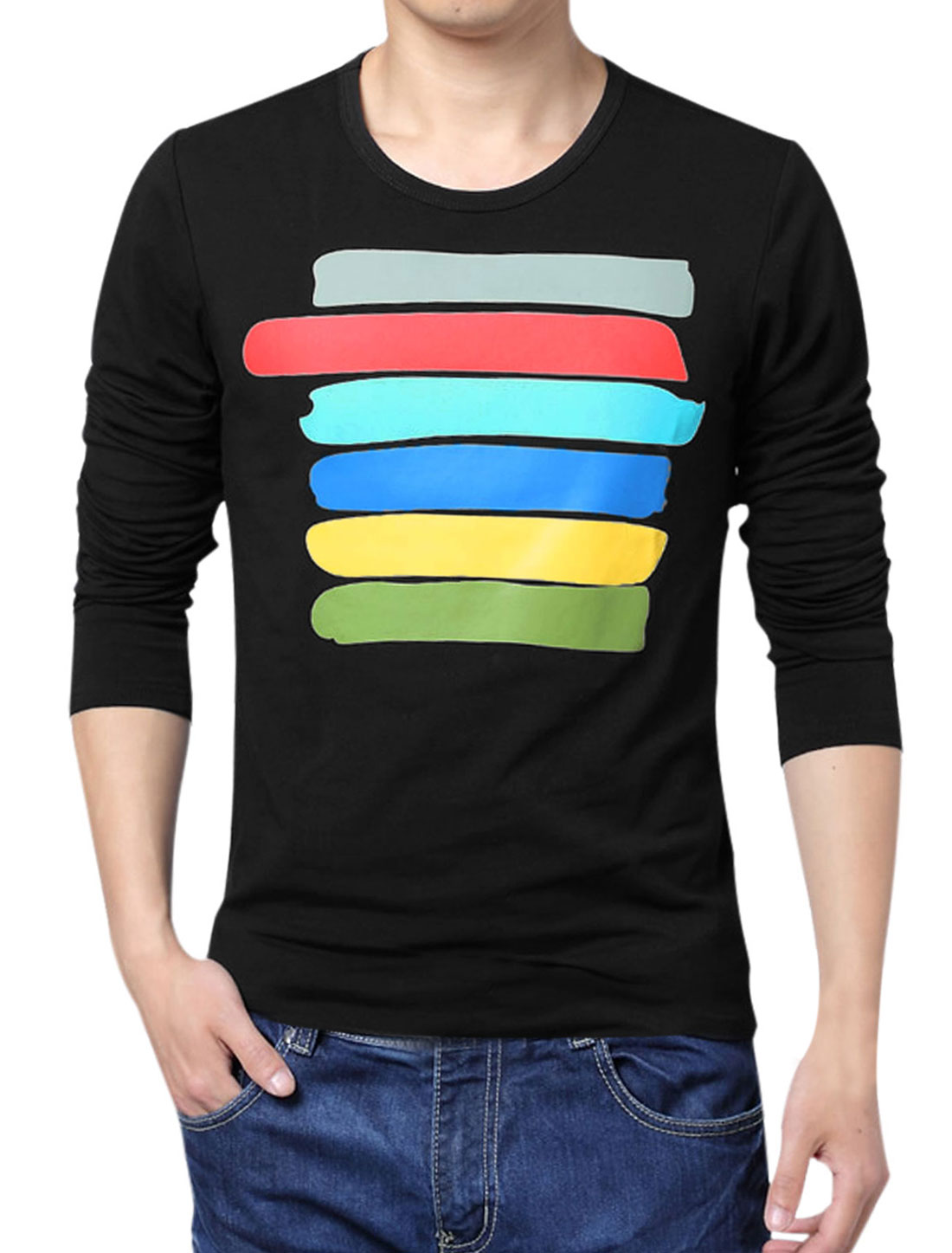 Men Long Sleeve Colorful Stripes Soft Basic T-Shirt Black L