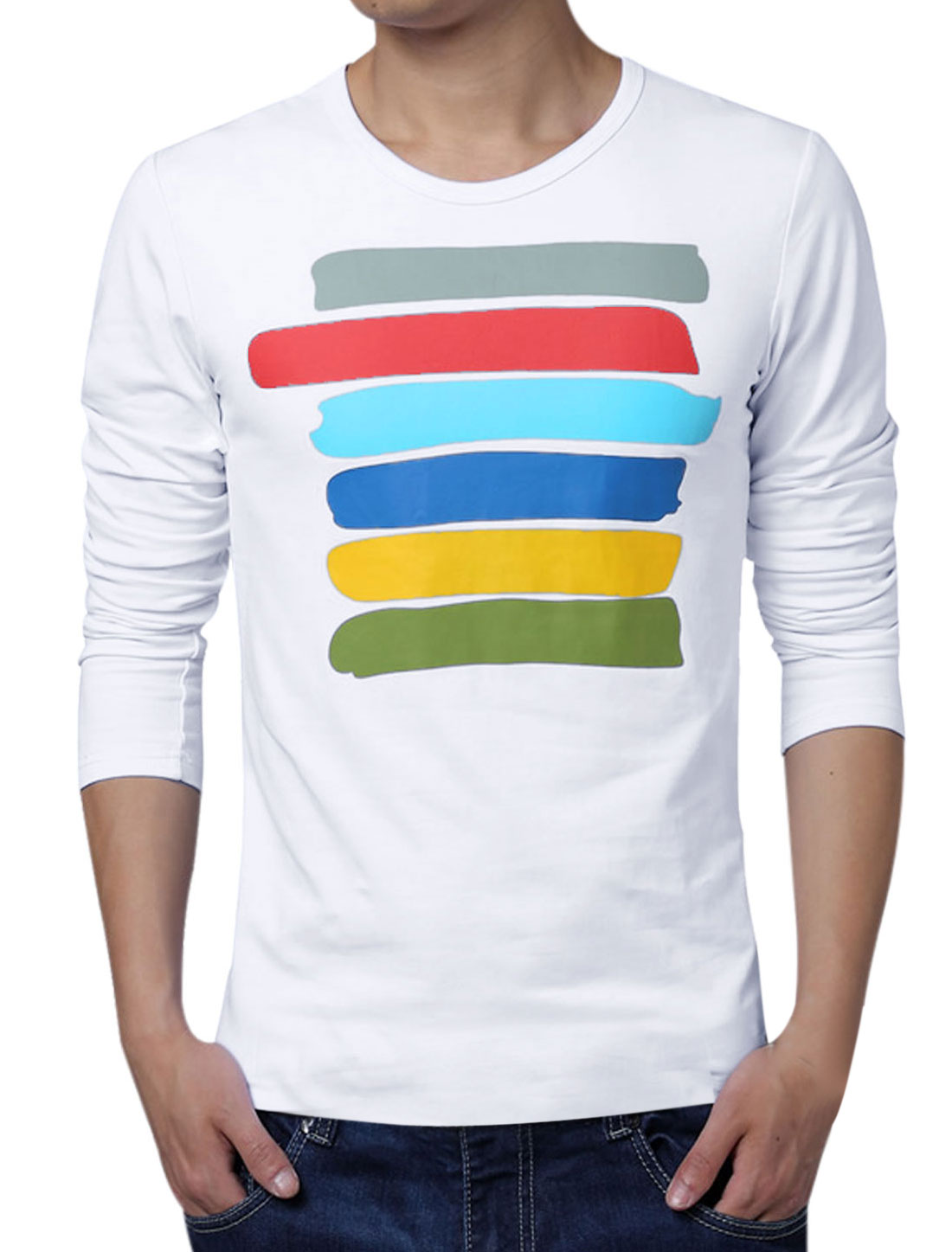 Men Long Sleeve Colorful Stripes Relaxed Fit Basic T-Shirt White L