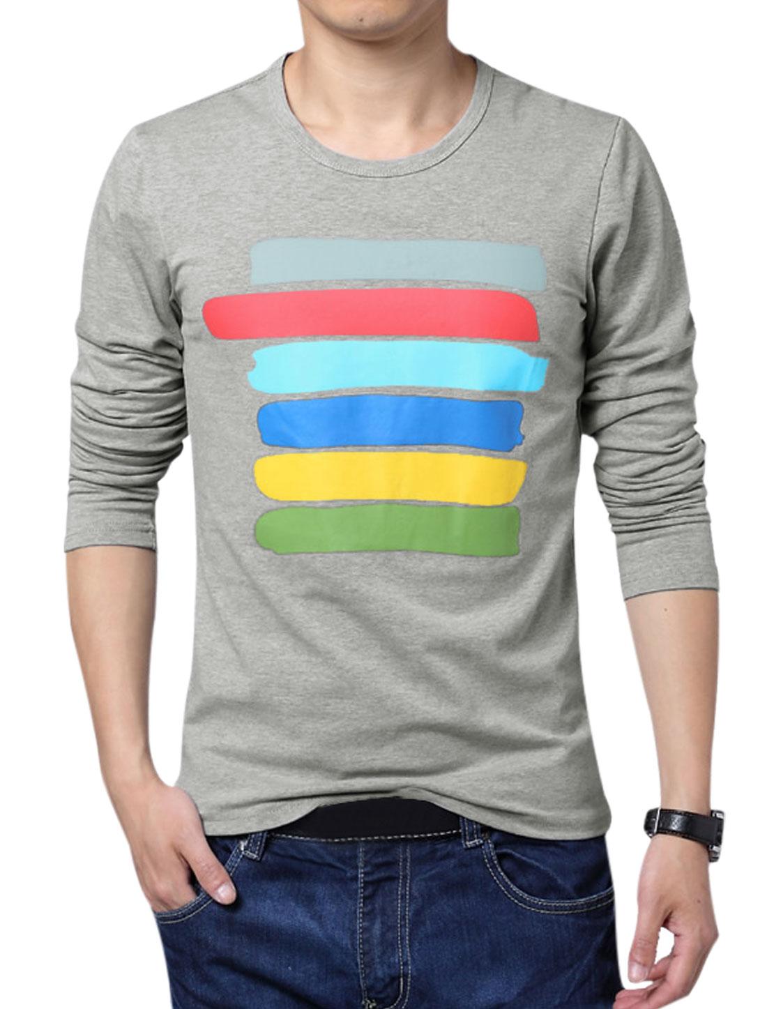 Men Long Sleeve Colorful Stripes Stylish T-Shirt Gray L