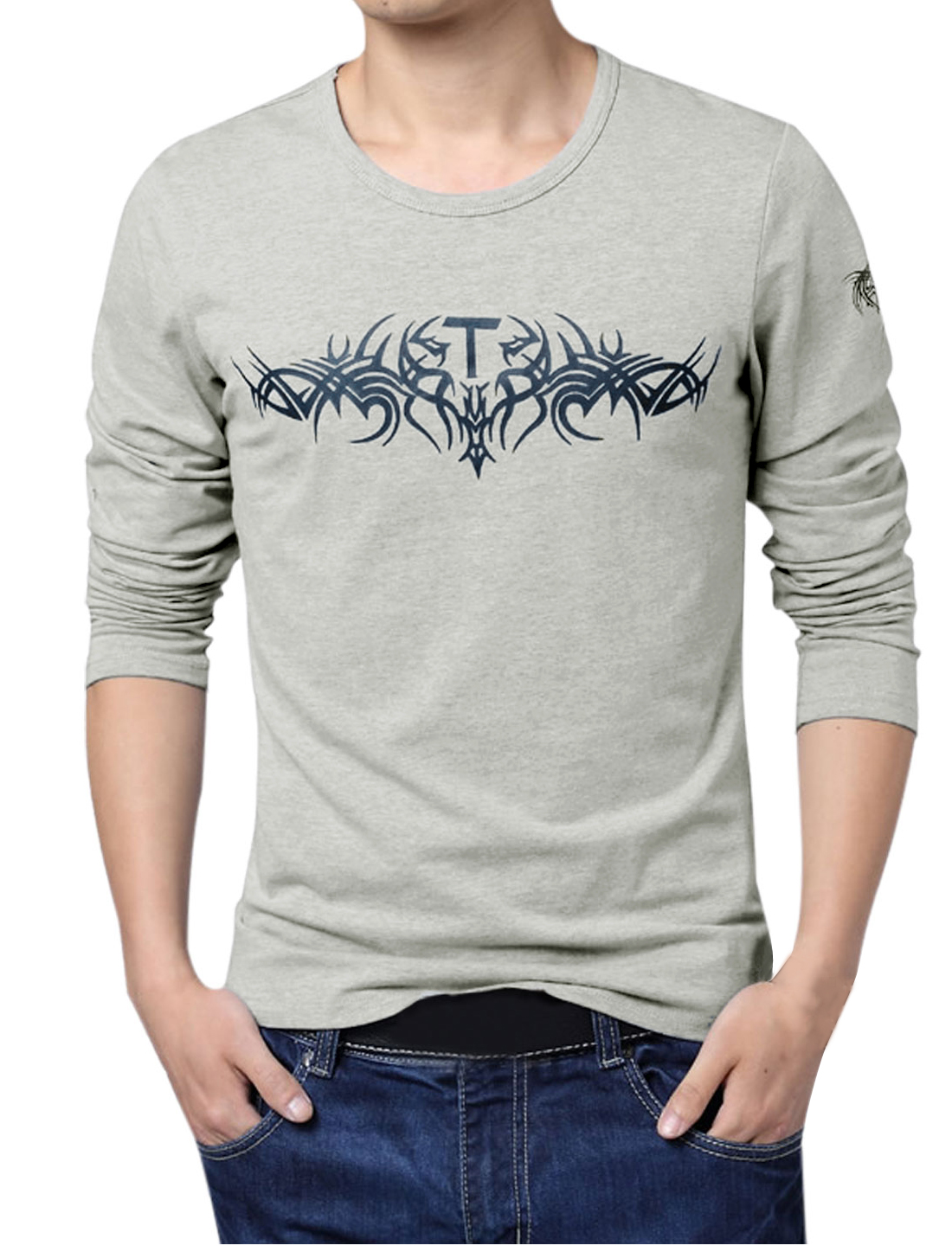 Men Long Sleeve Novelty Prints Relaxed Fit Basic T-Shirt Gray L