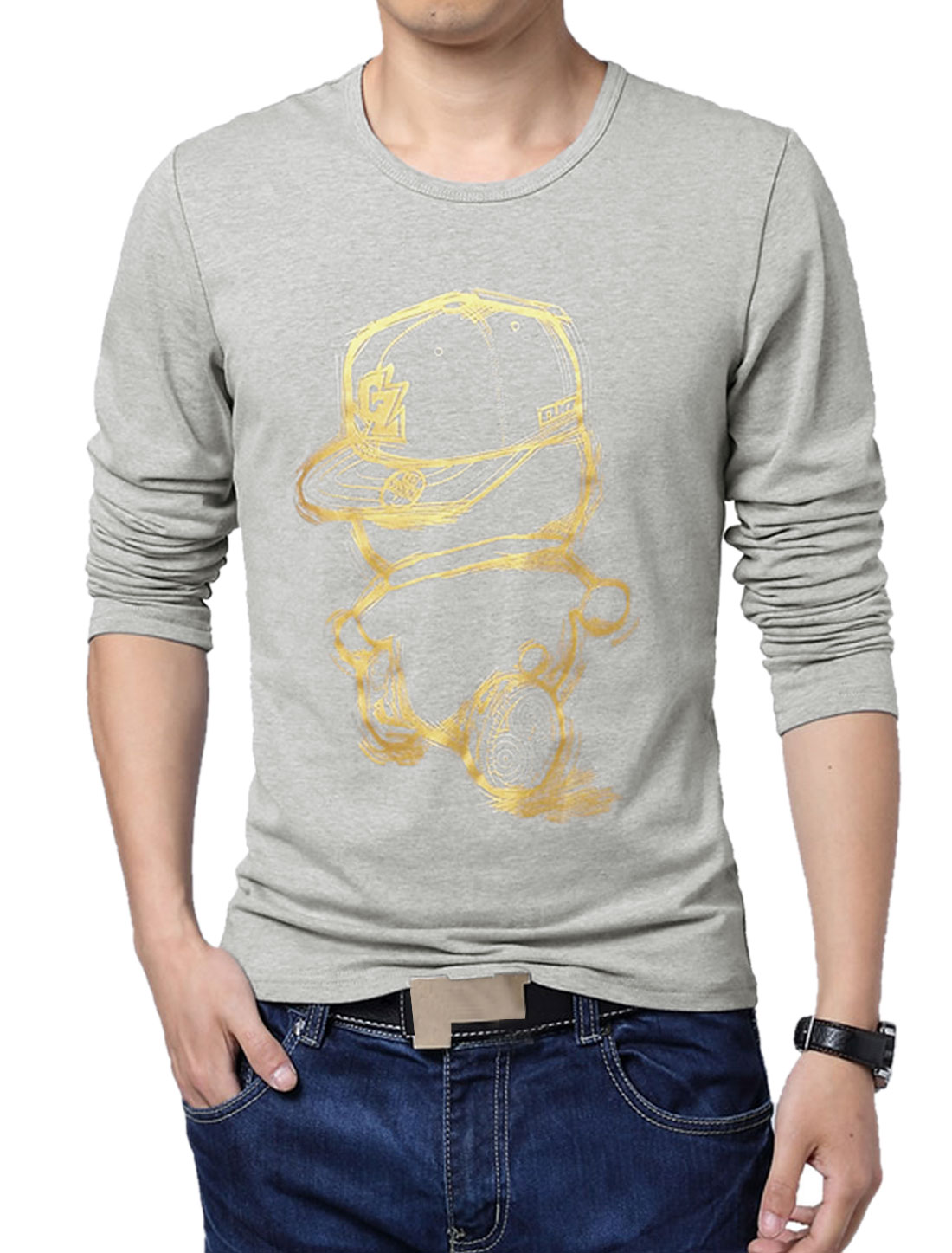 Men Long Sleeve Cartoon Prints Pullover Casual T-Shirt Gray M