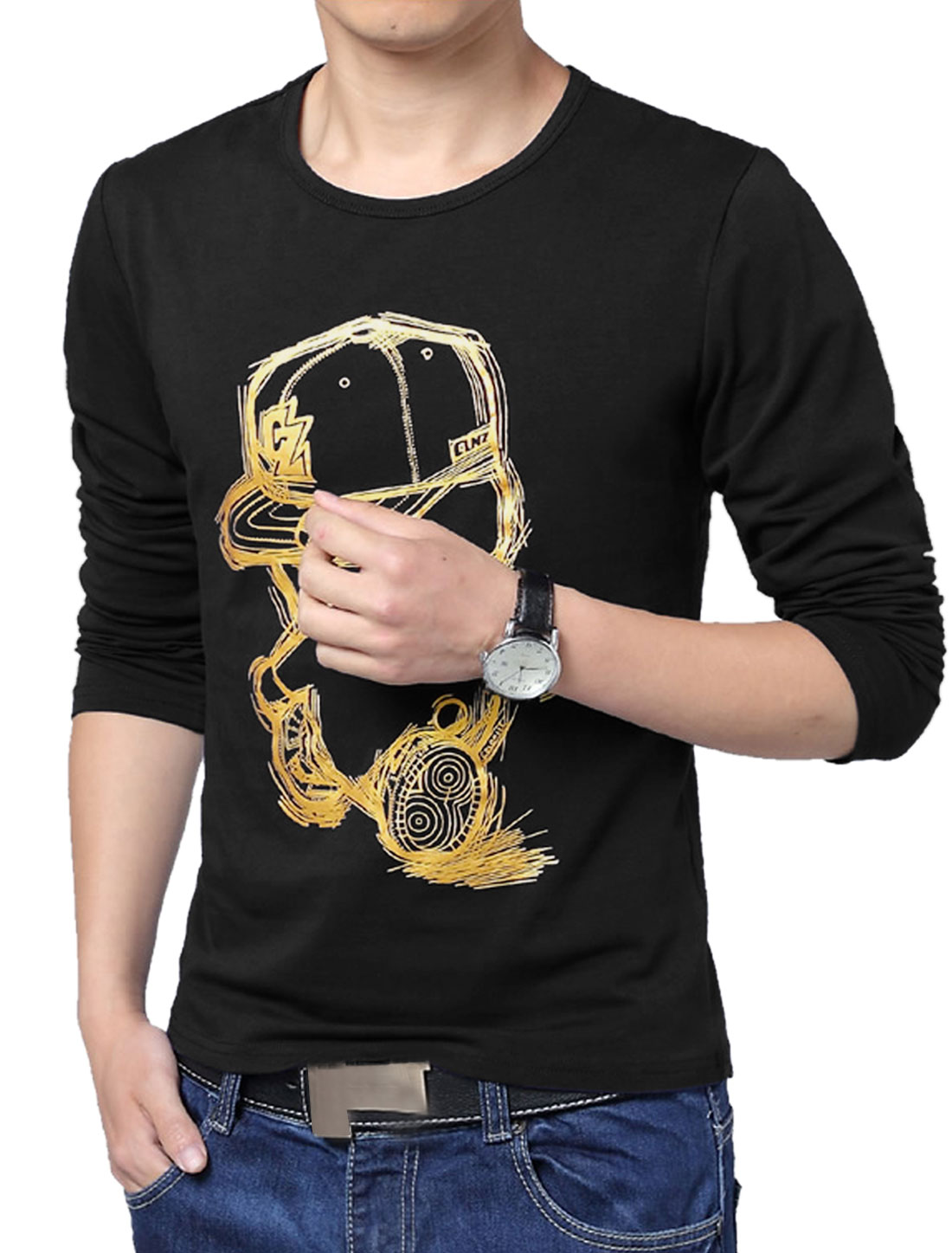 Men Leisure Style Round Neck Long Sleeve T-shirt Black L
