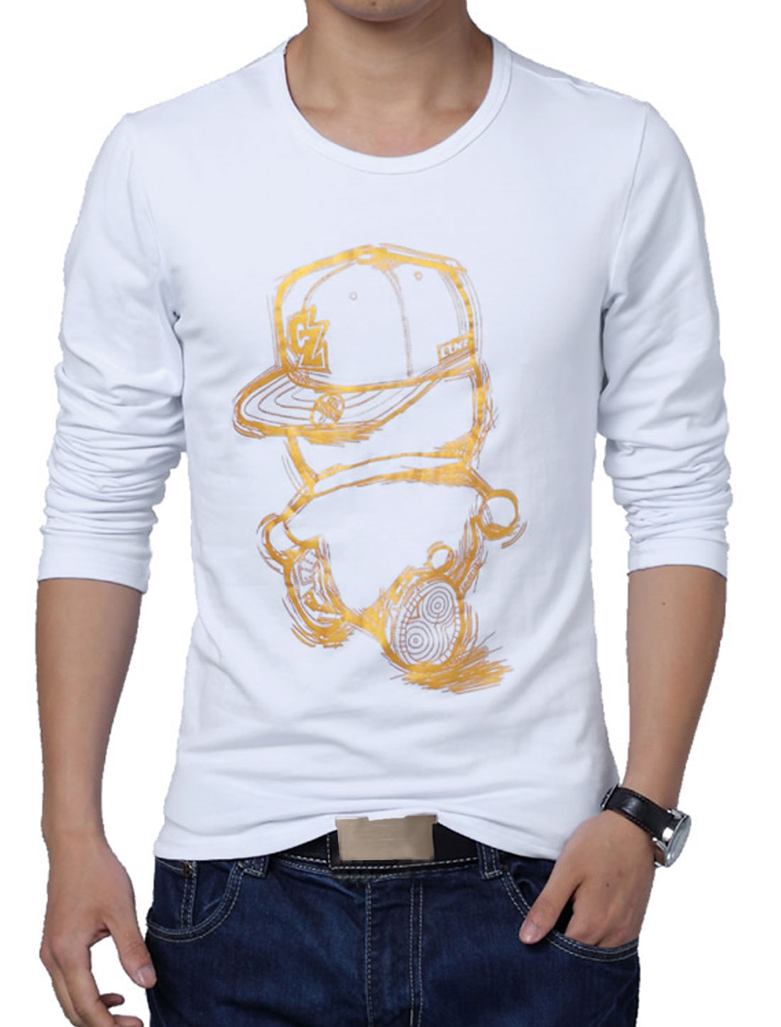 Men Fashion Style Pullover Long Sleeve Casual T-shirt White L