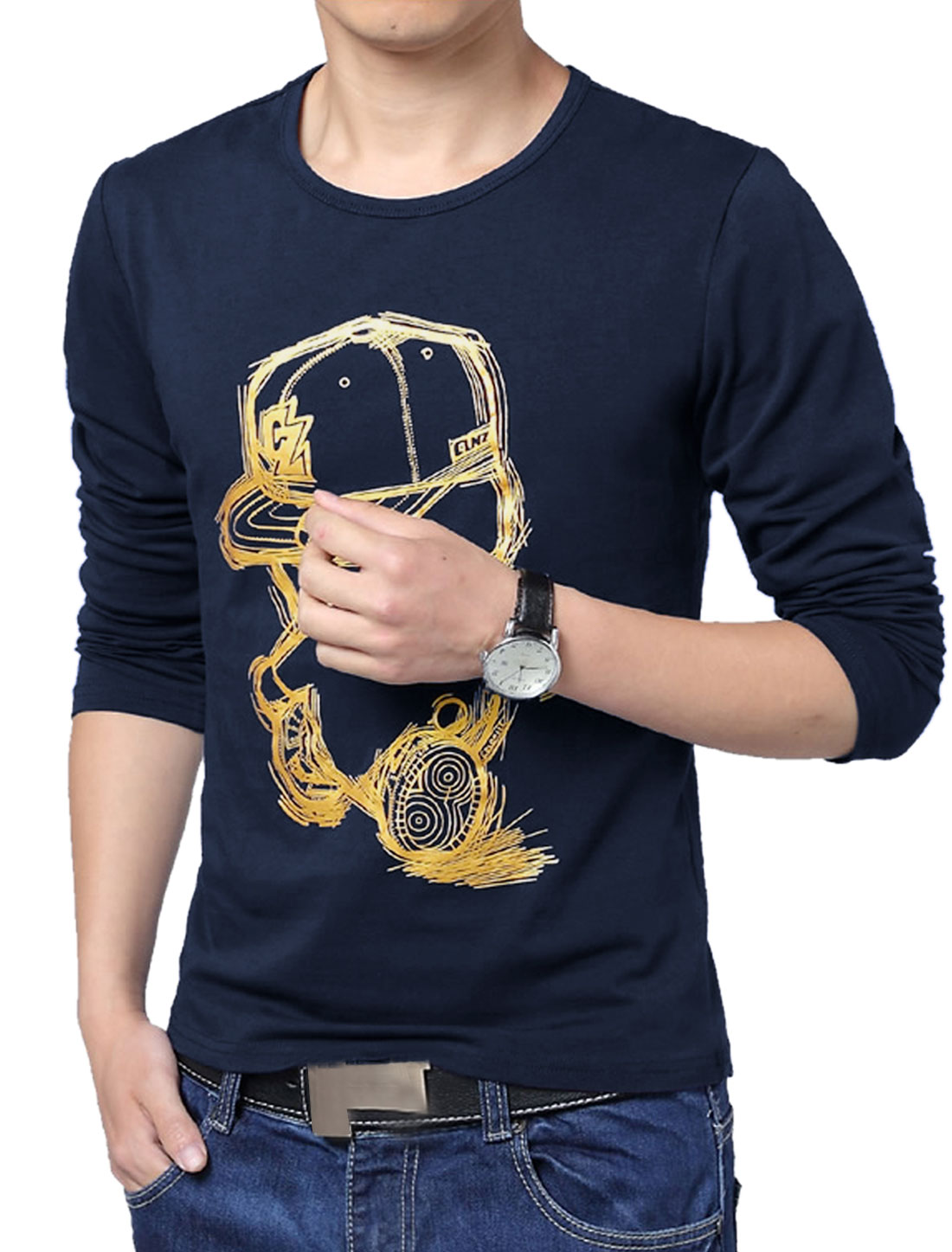 Men Fitting Style Cartoon Prints Designed Casual T-shirt Navy Blue L