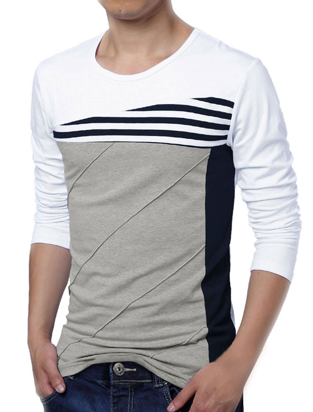 Men Color Block Striped Panel Round Neck Long Sleeve Pullover T-shirt White M