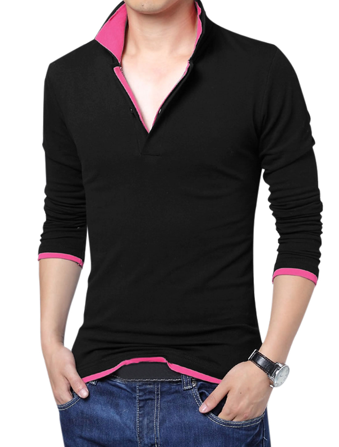 Men Tiered Point Collar Long Sleeve Leisure Polo Shirt Black Fuchsia M