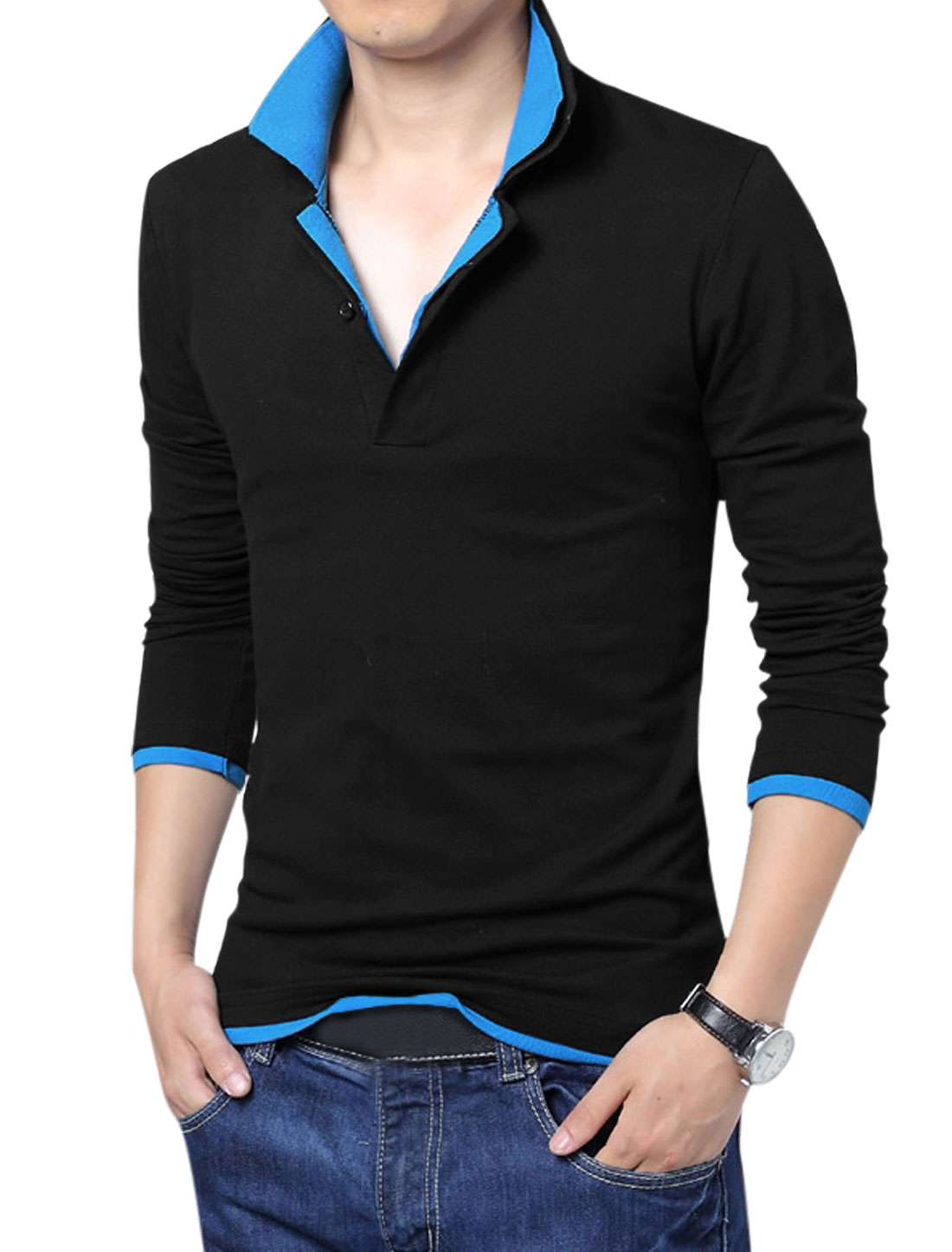 Men Layered Point Collar Long Sleeve Pullover Polo Shirt Black Blue M