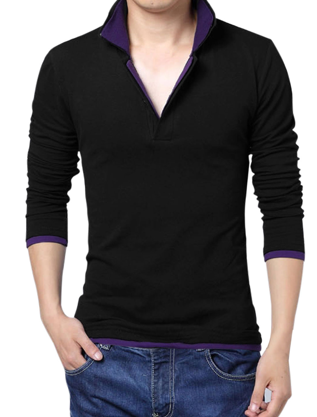 Men Layered Point Collar Long Sleeve Stylish Polo Shirt Black Purple M