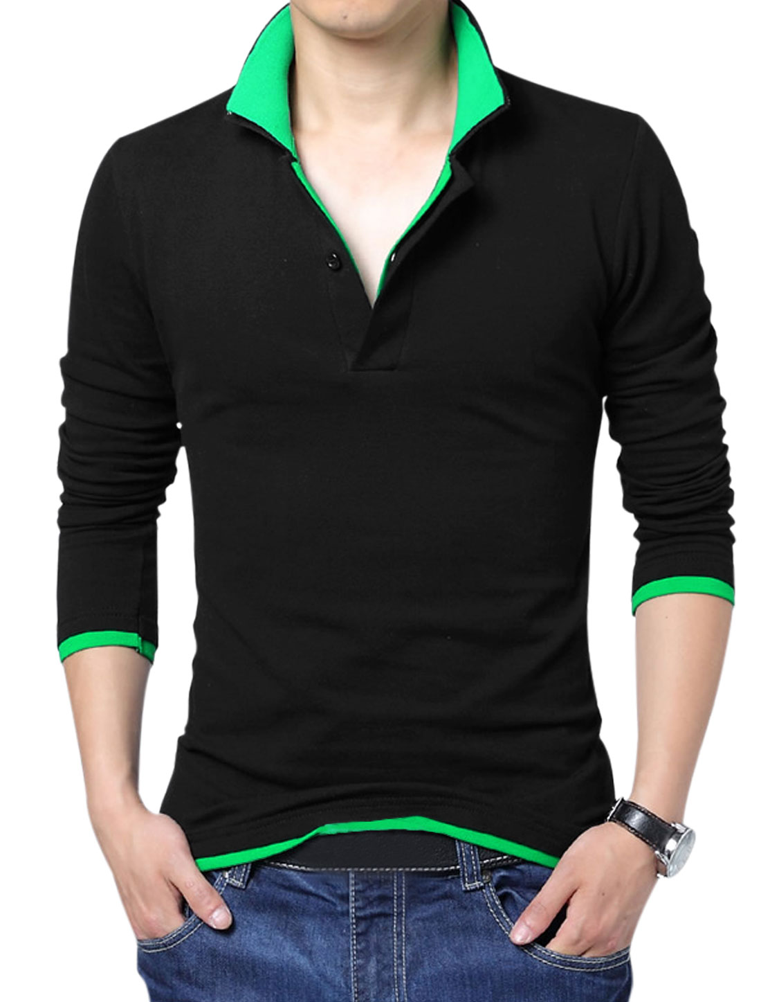 Men Layered Point Collar Long Sleeve Leisure Polo Shirt Black Green M