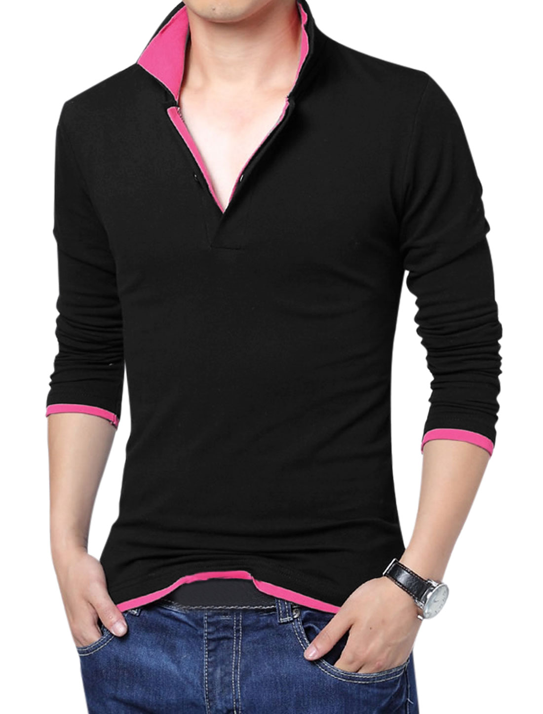 Men Simple Layered Point Collar Long Sleeve Leisure Polo Shirt Black Fuchsia L