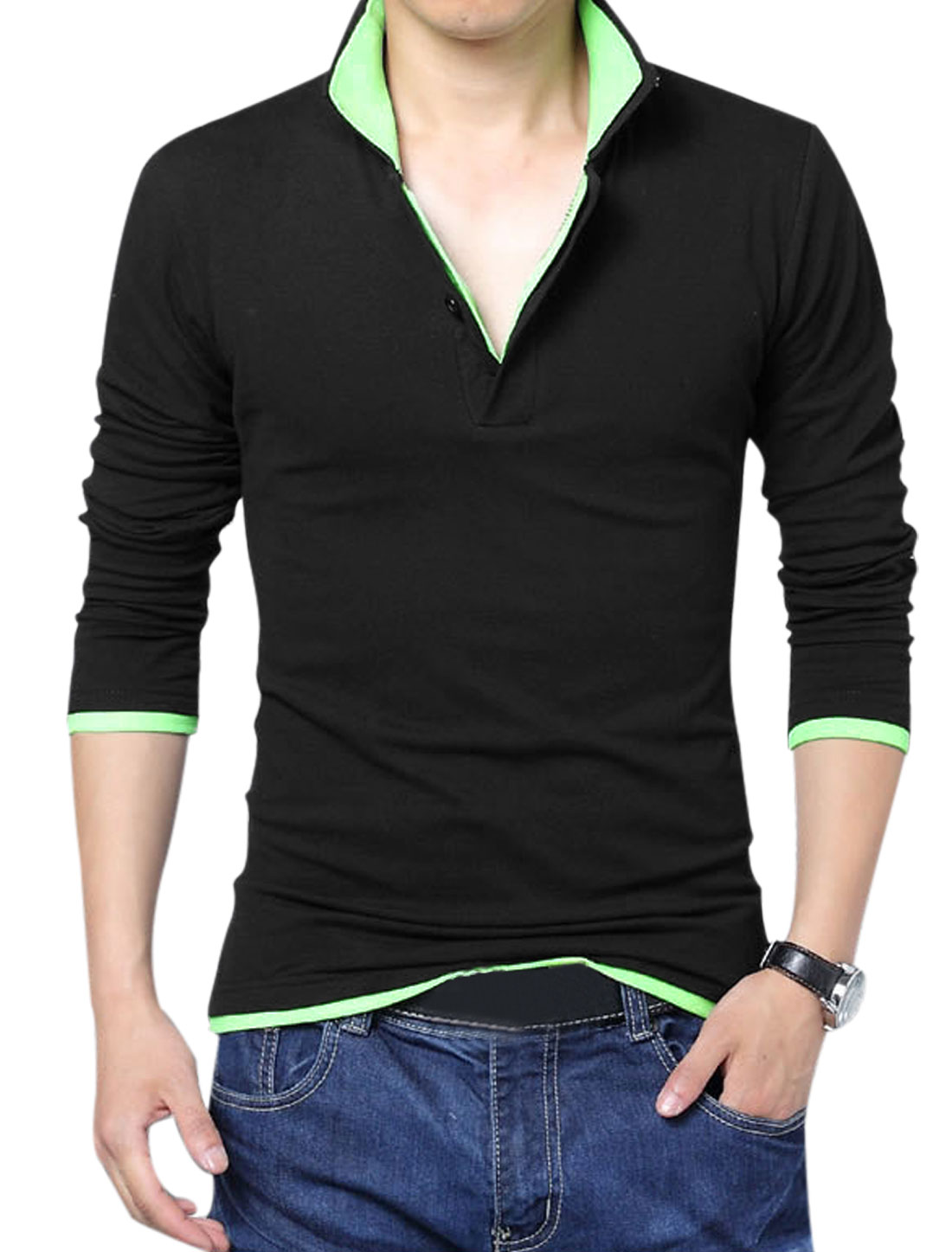 Men Layered Point Collar Long Sleeve Slipover Polo Shirt Black Light Green L