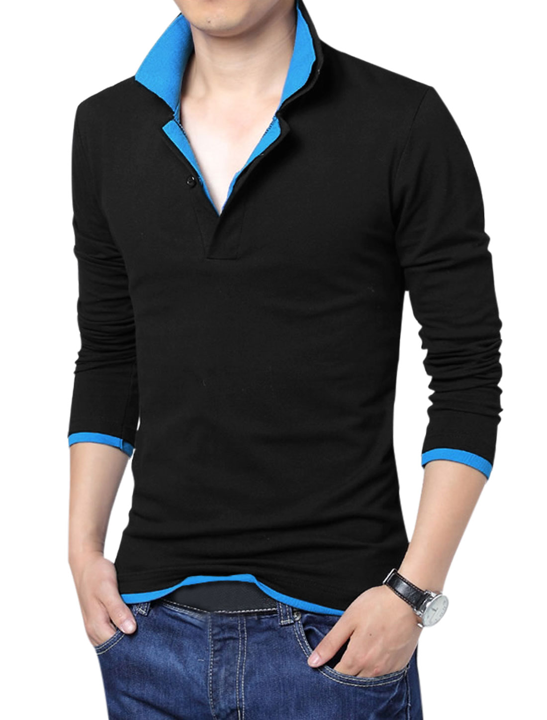 Men Layered Point Collar Long Sleeve Regular Fit Polo Shirt Black Blue L