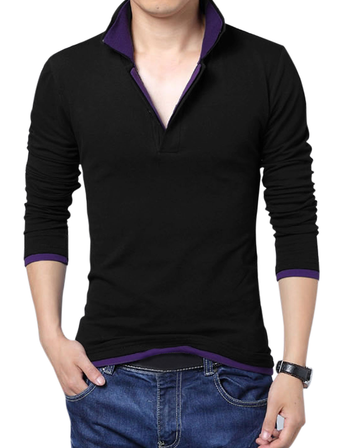 Men Easy Wear Layered Point Collar Long Sleeve Polo Shirt Black Purple L