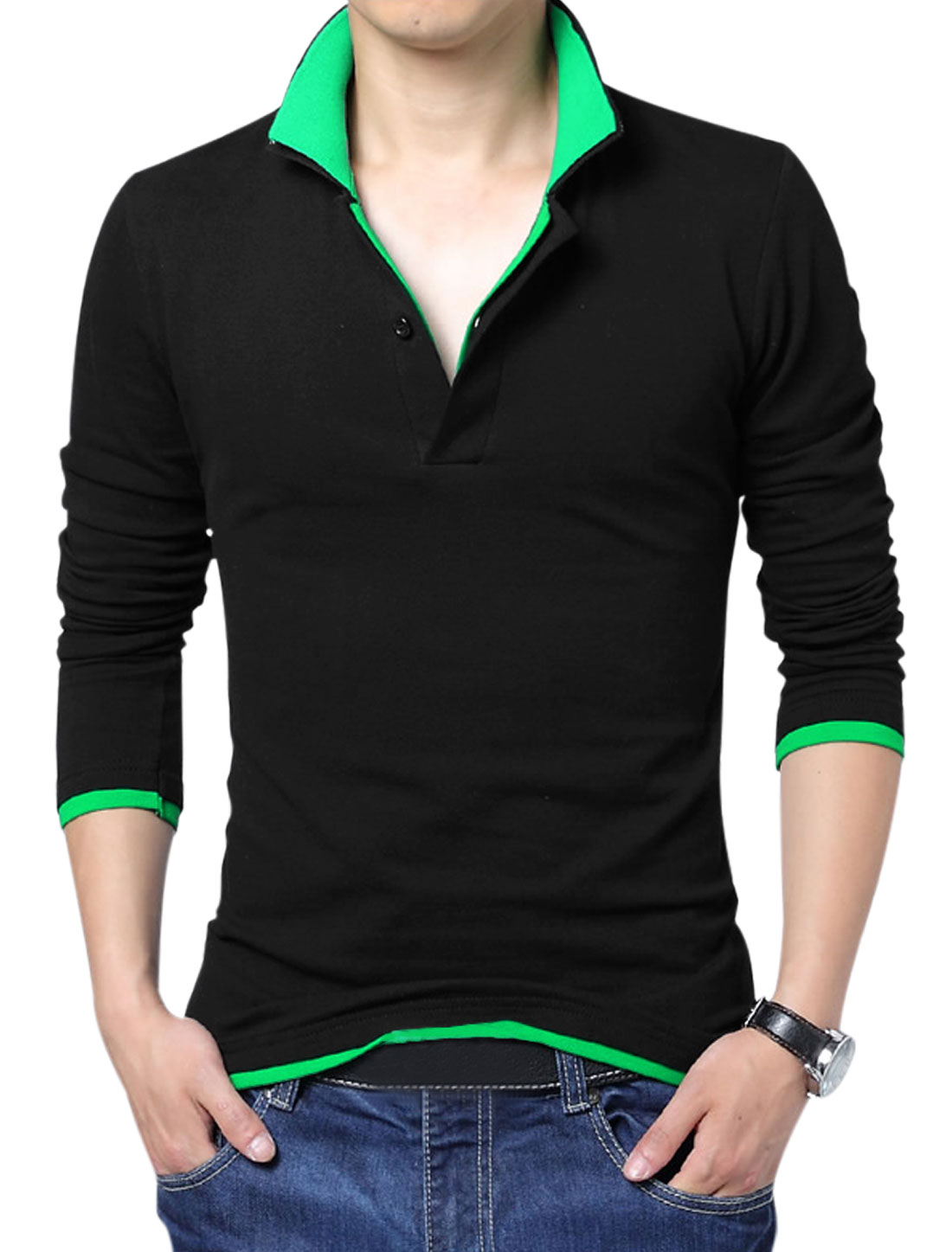 Men Layered Point Collar Long Sleeve Fashion Design Polo Shirt Black Green L