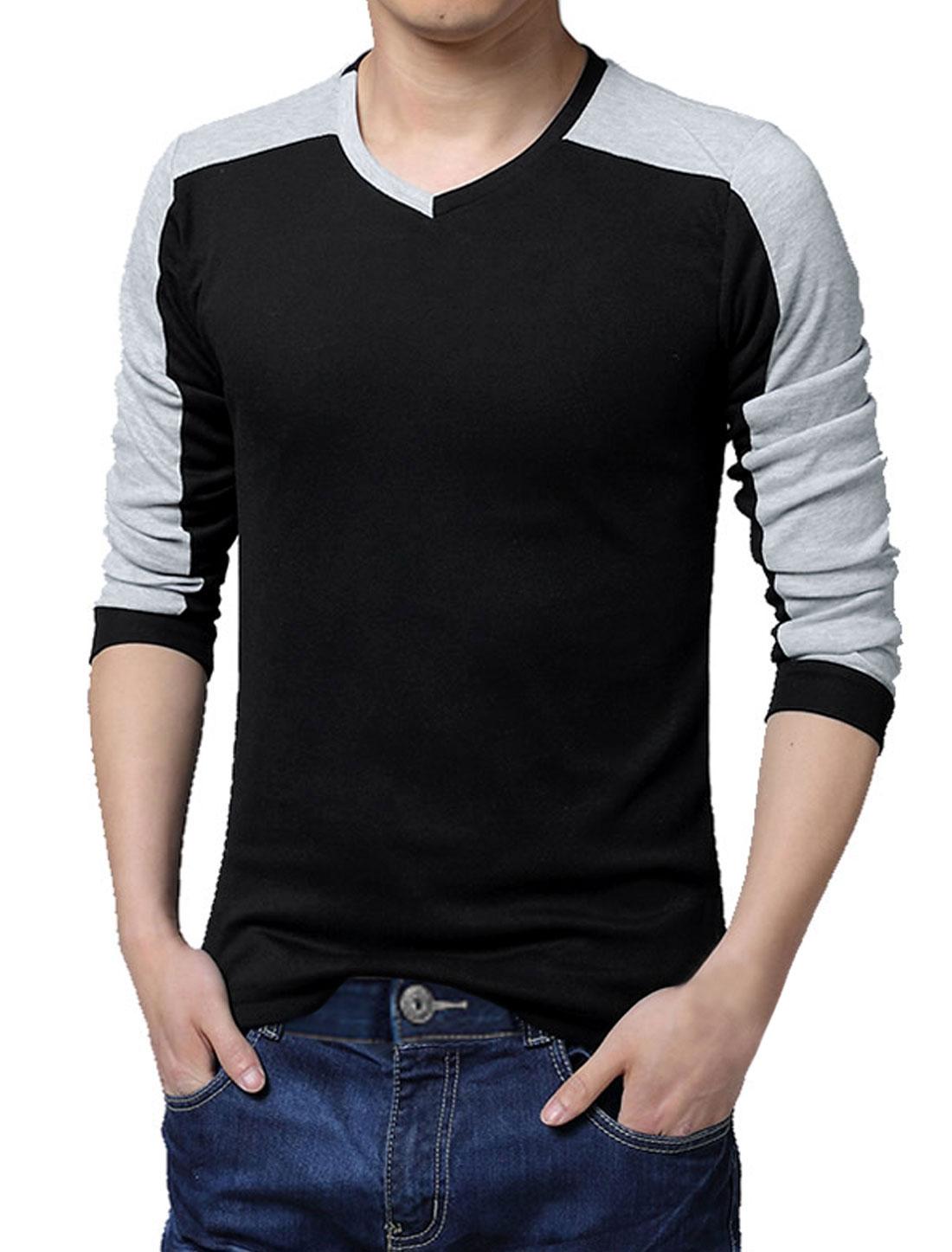 Men V Neck Long Sleeve Color Block Casual T-Shirt Black L