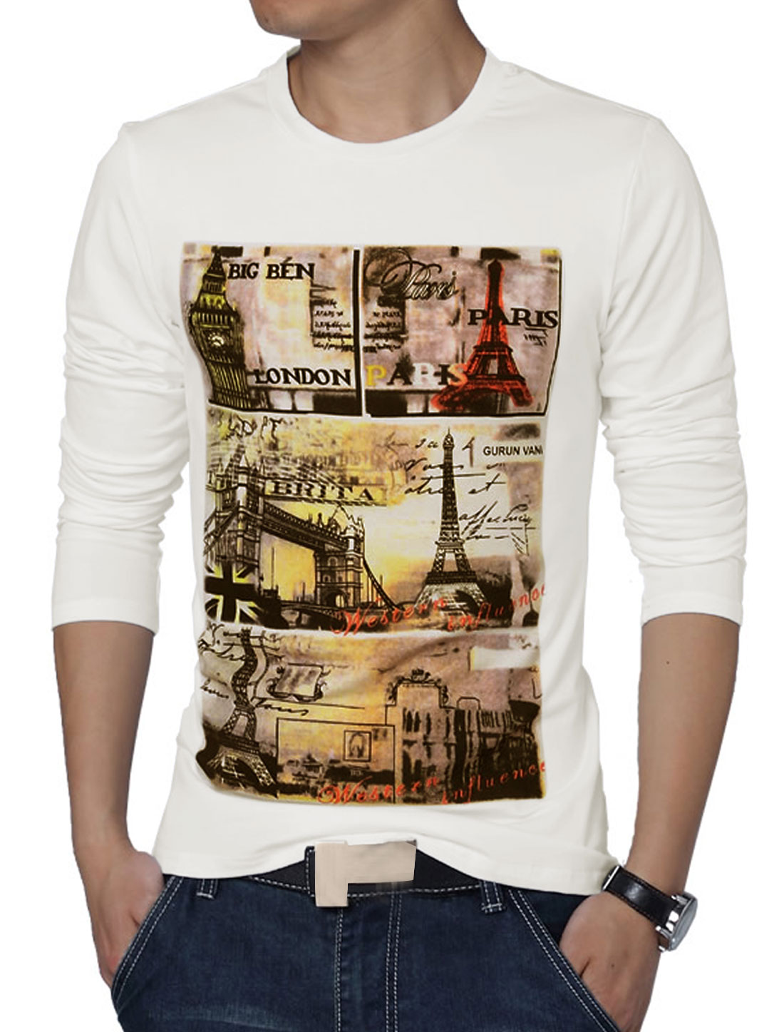 Men Long Sleeve Letters Eiffel Tower Prints Casual T-shirt White M