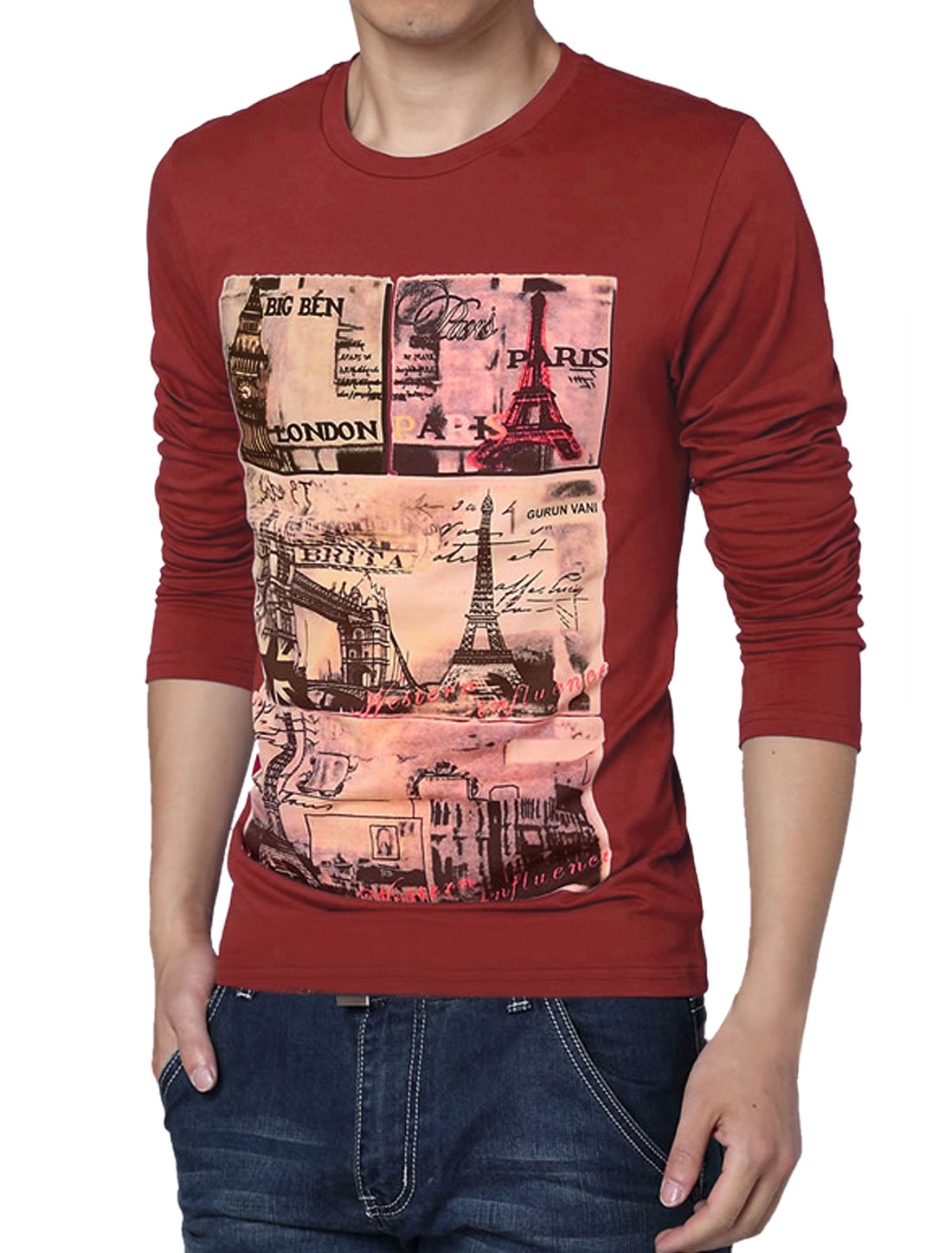 Men Long Sleeve Round Neck Casual T-shirt Burgundy M