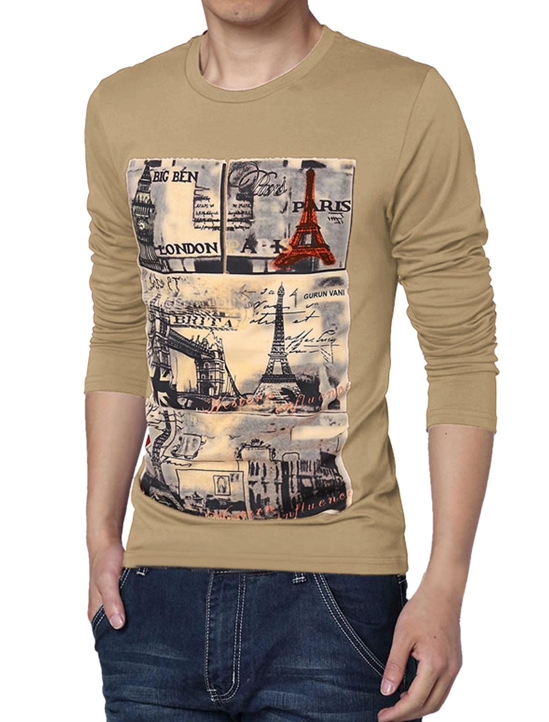 Men Round Neck Pullover Leisure Style Basic Tee Camel M