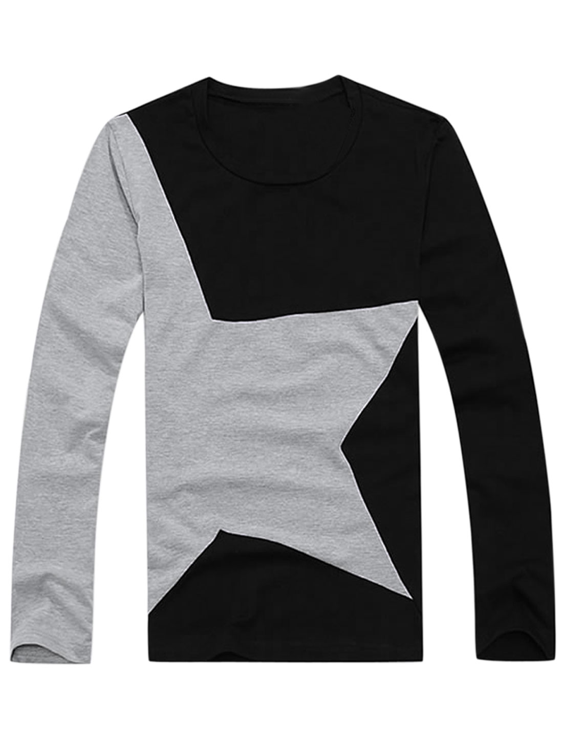 Men Long Sleeve Star Prints Colorblock Simple T-Shirt Black M