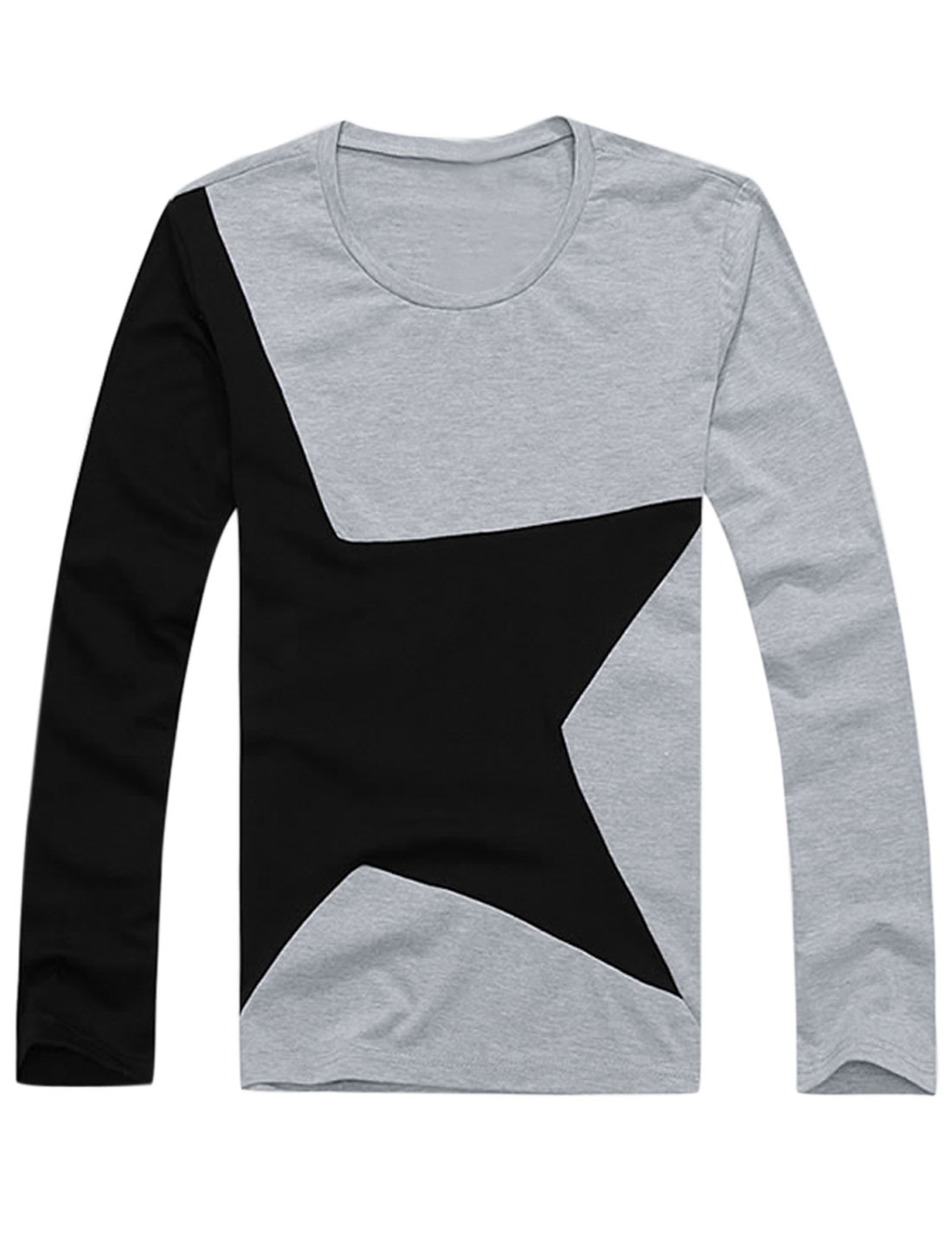 Men Long Sleeve Star Prints Colorblock Casual T-Shirt Gray M