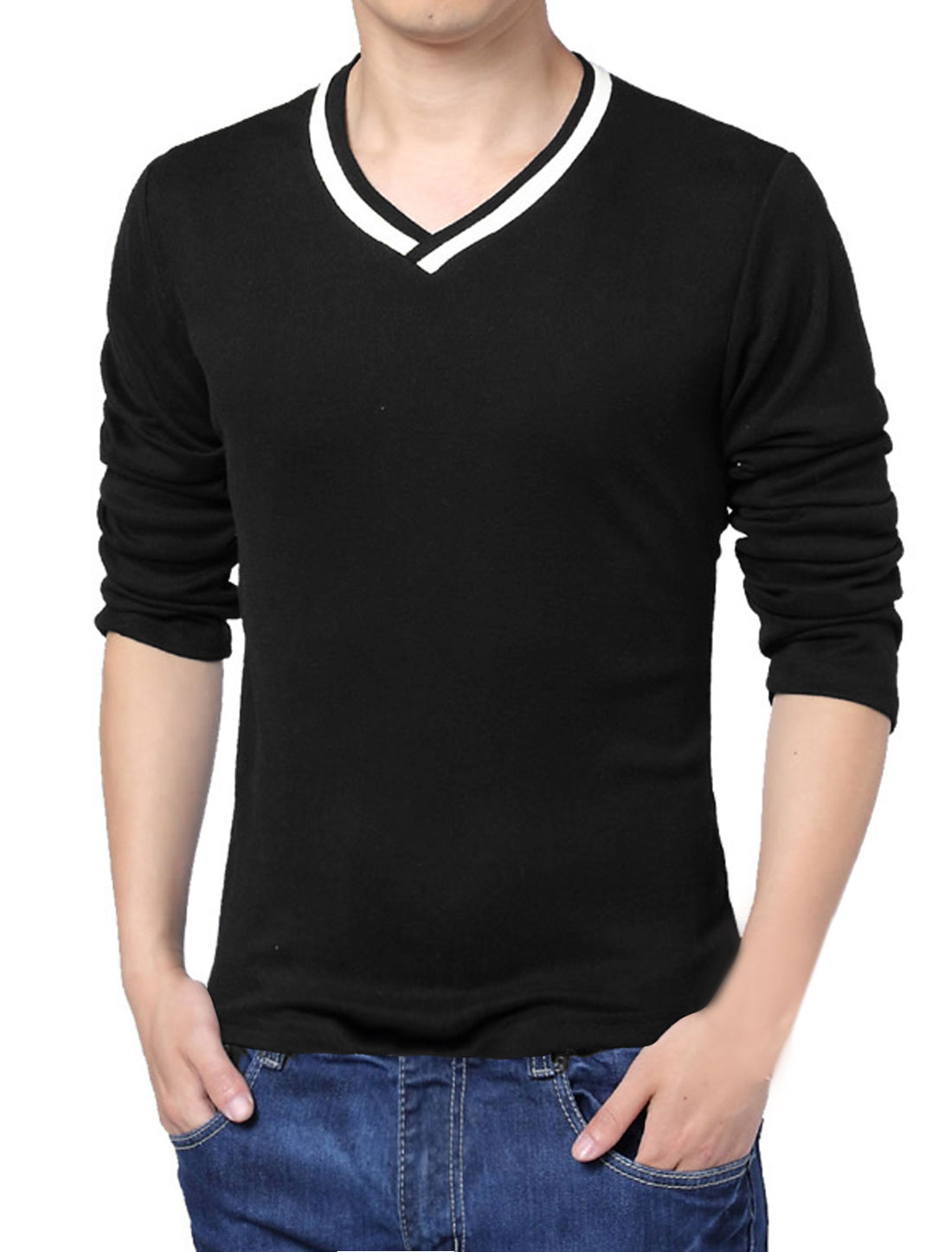 Men Autumn V Neck Long Sleeve Pure Pattern Soft Basic Tee Black M