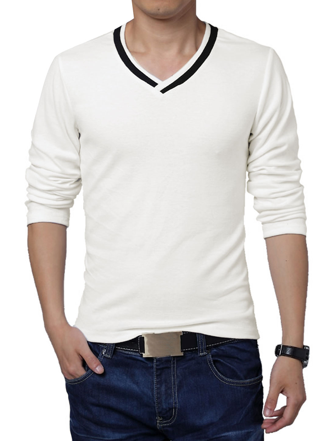 Men Casual V Neck Long Sleeve Slim Fit Soft Basic Tee White M