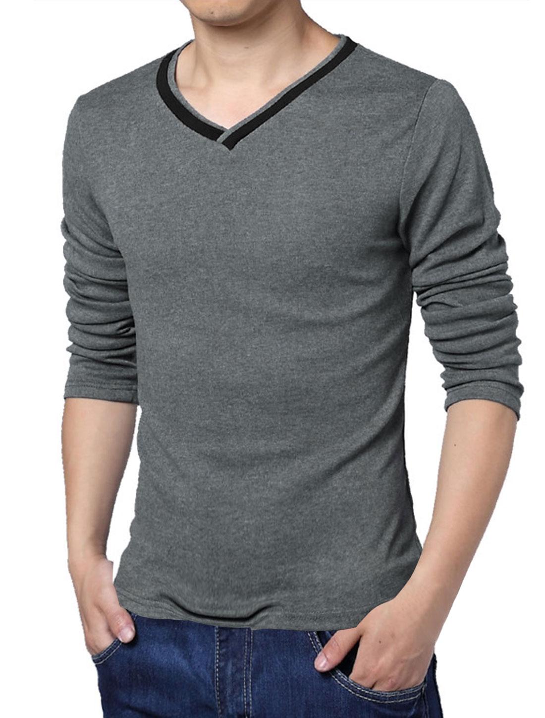 Men Autumn V Neck Long Sleeve Slim Fit Soft Basic Tee Dark Gray M