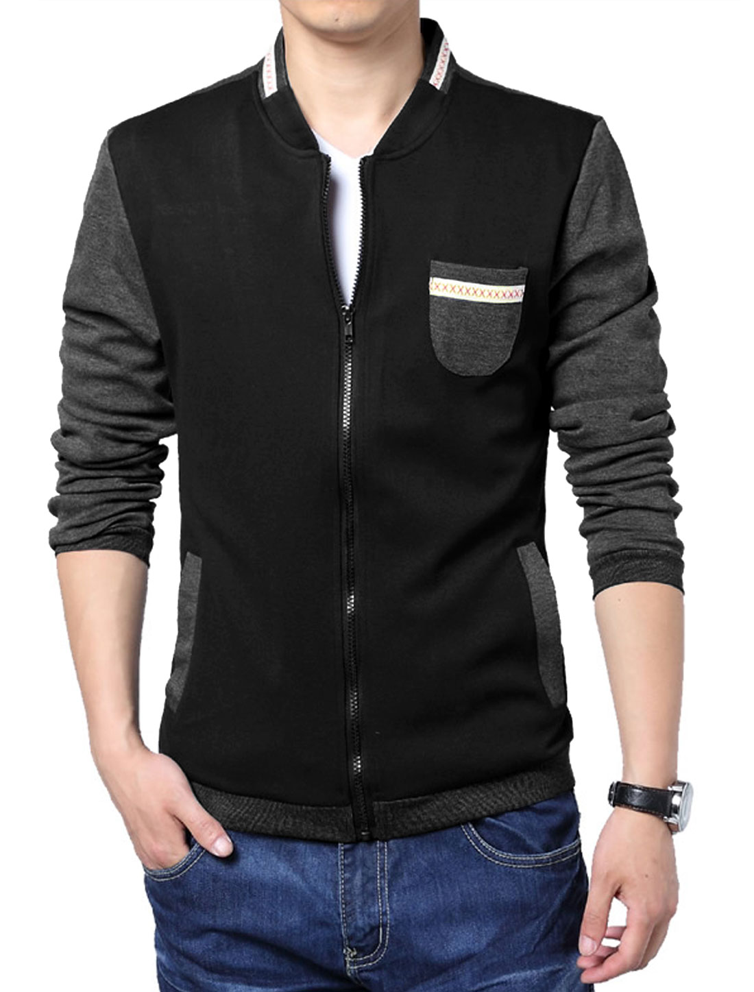 Men Long Sleeve Zip Up Panel Design Colorblock Casual Jacket Black L