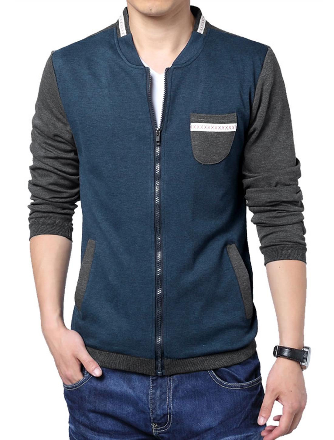 Men Long Sleeve Zip Up Panel Design Colorblock Basic Jacket Navy Blue L