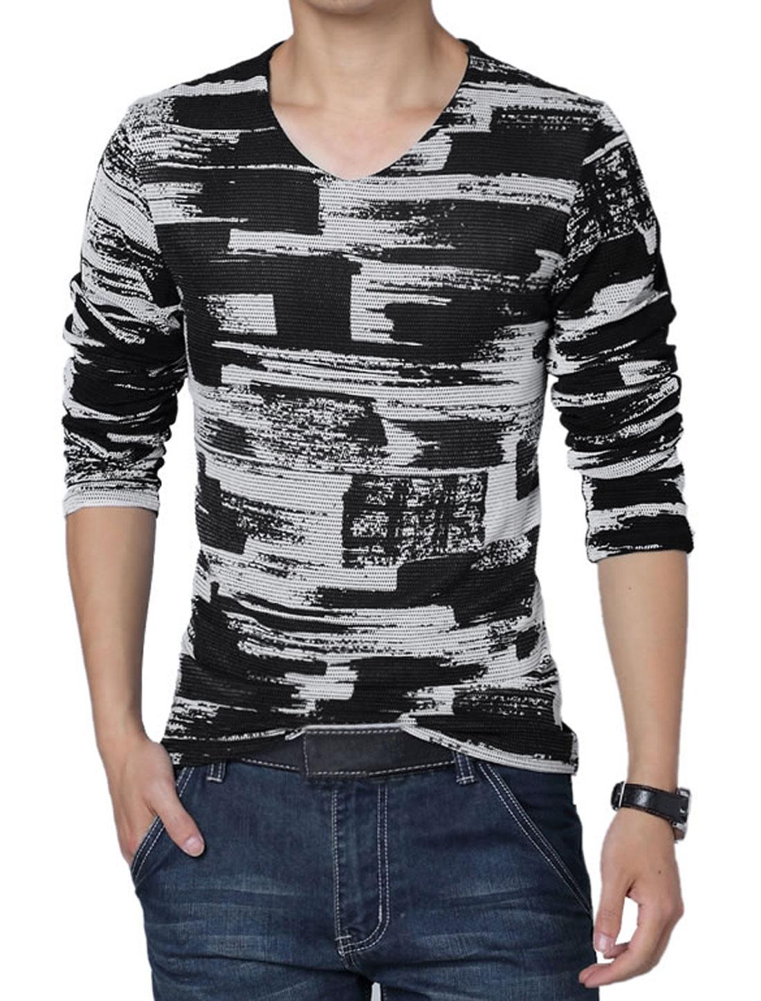 Men V Neck Novelty Prints Panel Lining T-Shirt White Black M