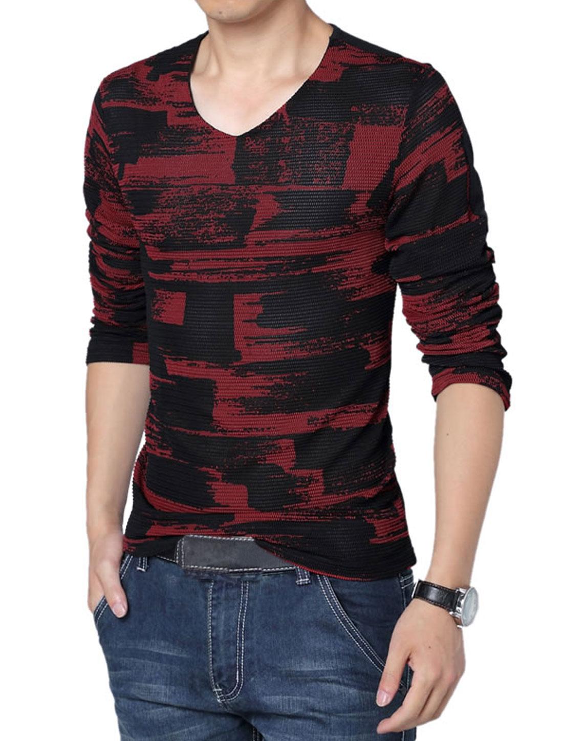Men V Neck Long Sleeve Novelty Prints Panel Casual Shirt Red Black M