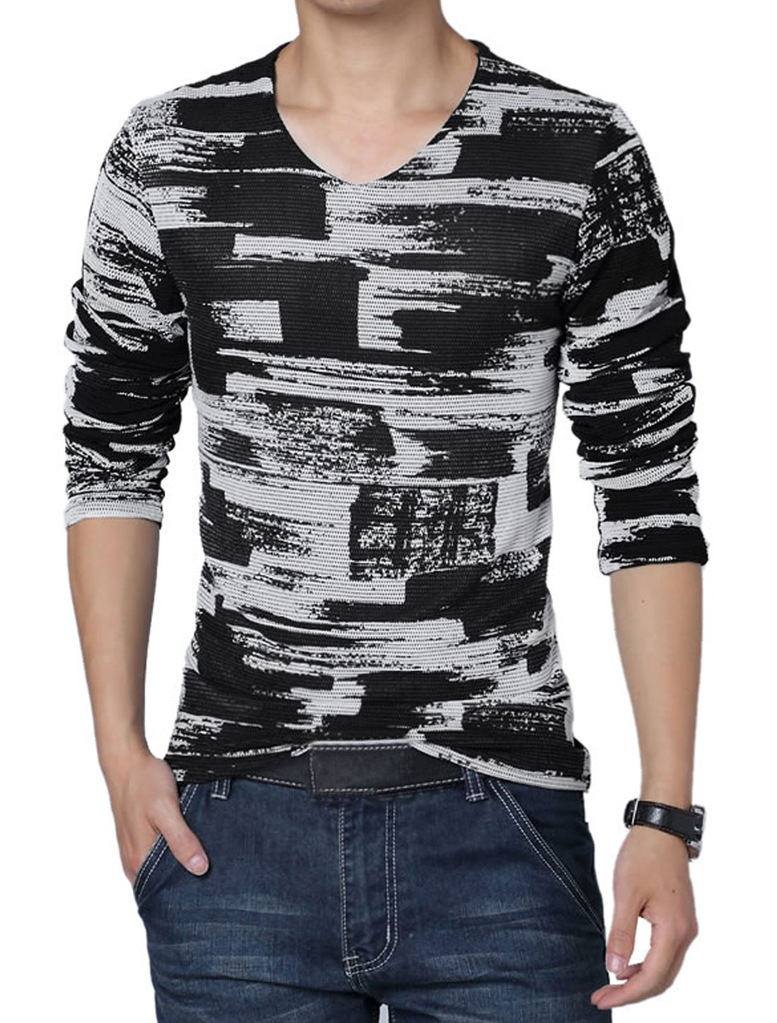 Men V Neck Panel Novelty Prints Stylish T-Shirt White Black L