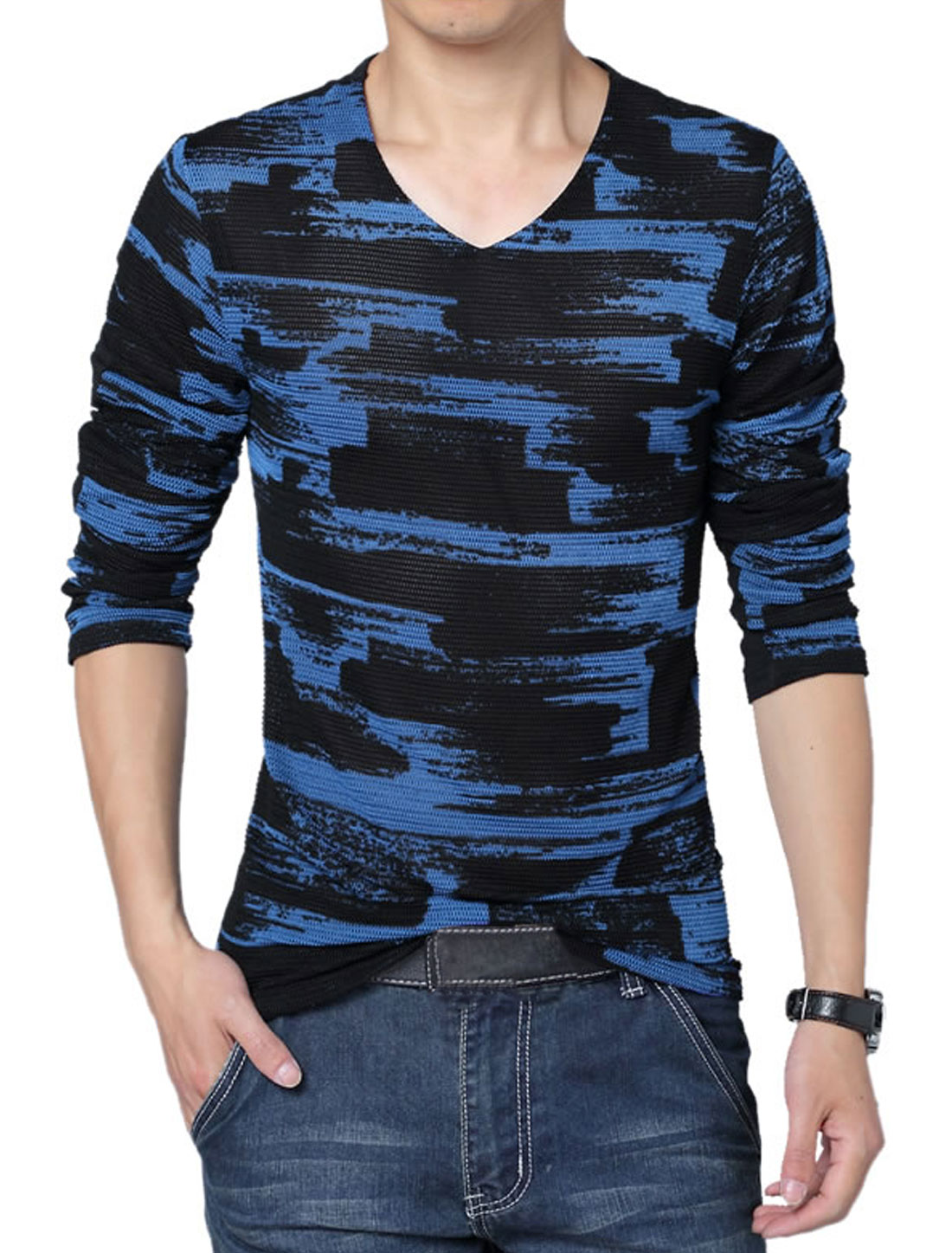 Men Long Sleeve Novelty Prints Stretchy Back Lining Shirt Blue Black L