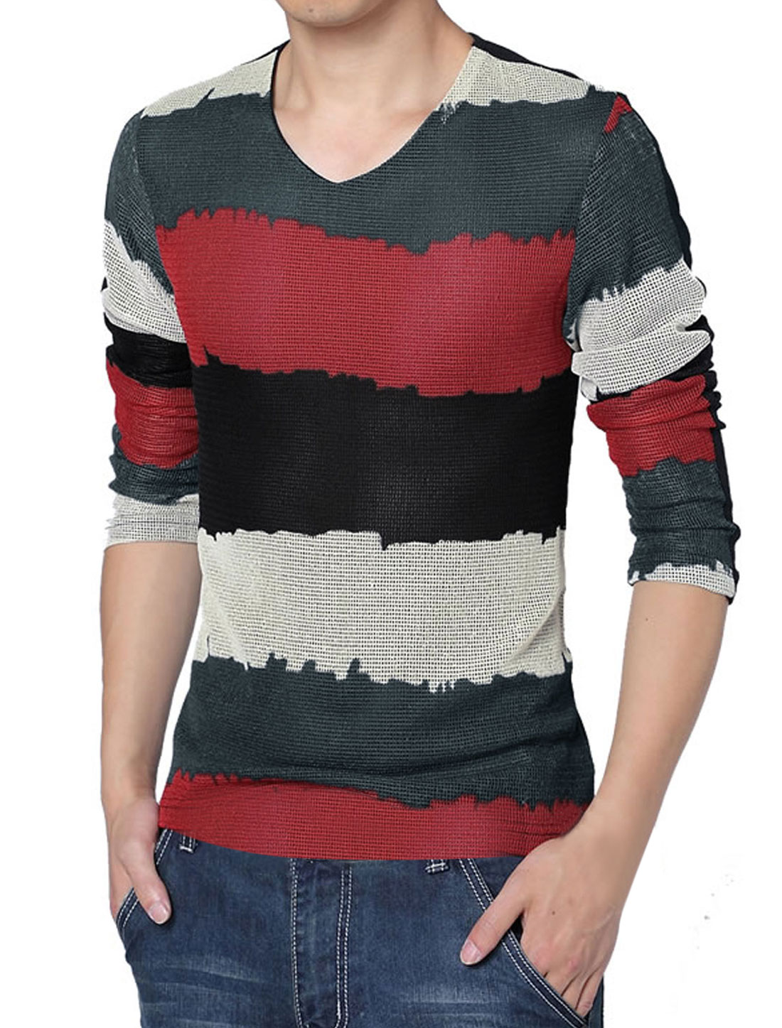 Men Long Sleeve Splicing Stripes Stylish T-Shirt Red Black M