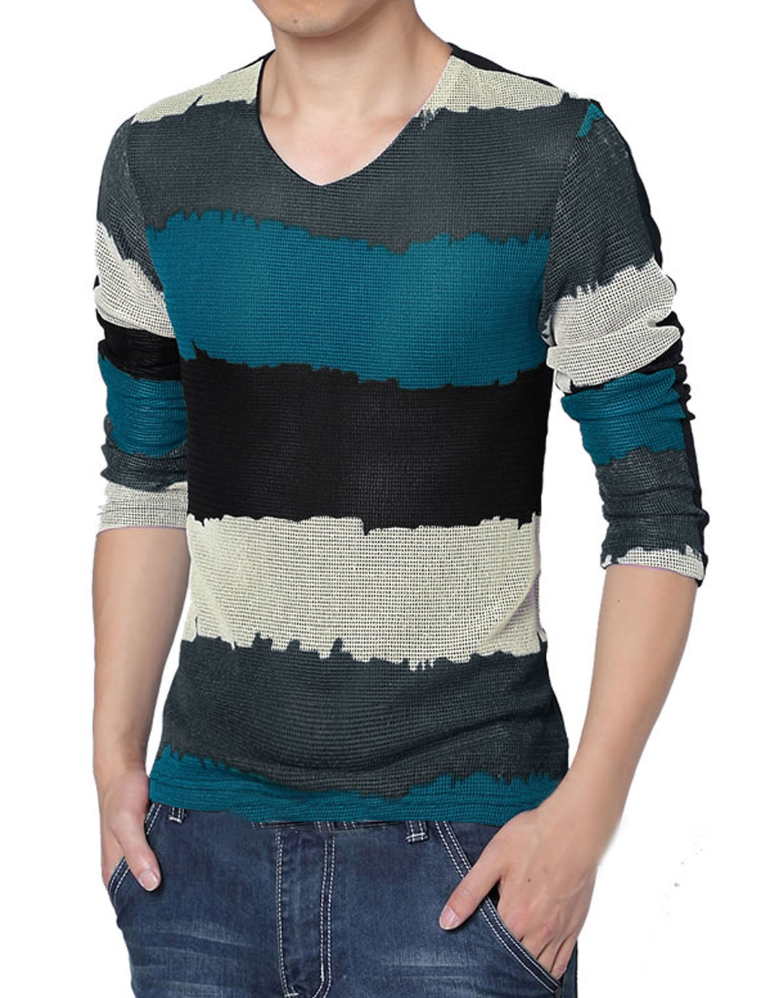 Men Long Sleeve Color Block Stripes Lining Autumn Shirt Blue Black M