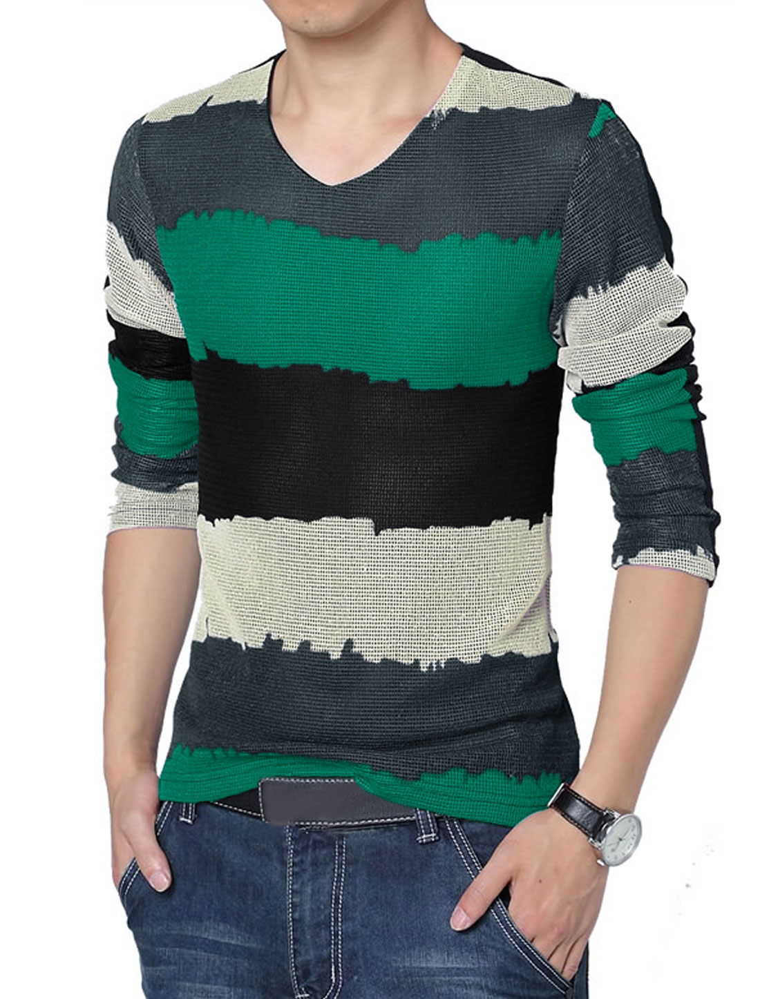 Men Long Sleeve Splicing Stripes Lining Casual Shirt Green Black M